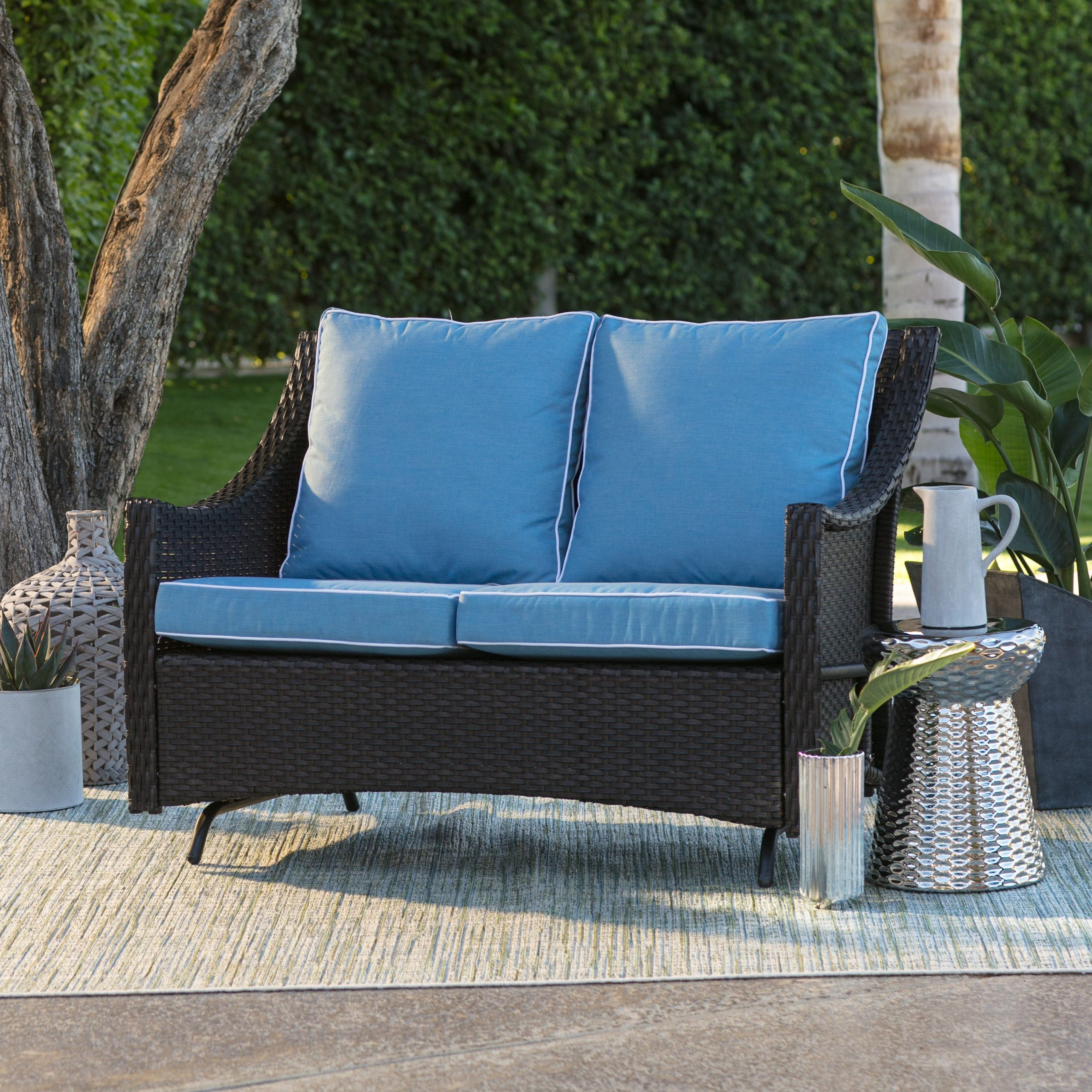 Most Popular Linwood Loveseats With Cushions With Outdoor Belham Living Lindau All Weather Wicker Loveseat (View 13 of 25)
