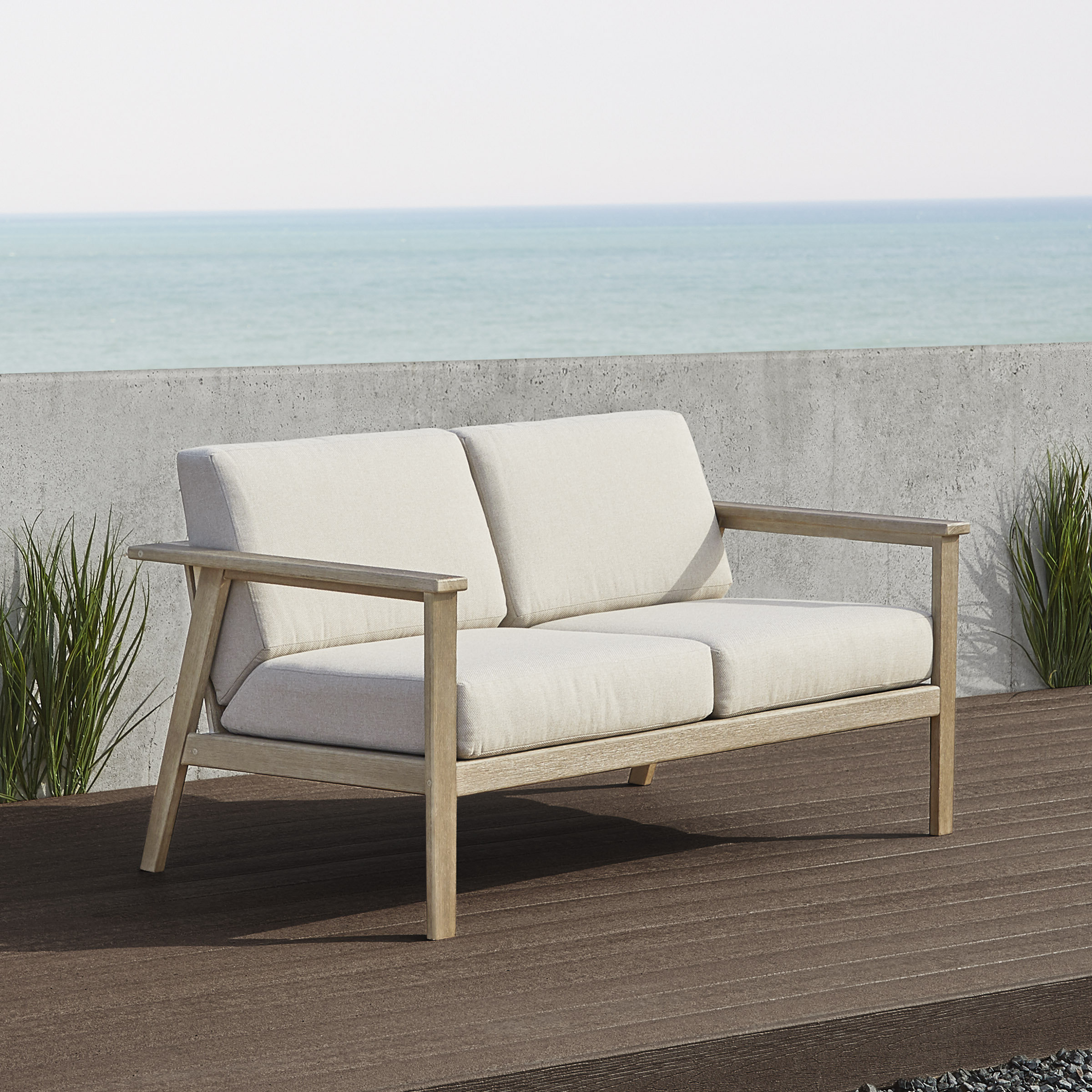 Most Popular Speer Loveseat With Cushions In Zeman Ultra Comfortable Upholstered Anodized Aluminum Loveseats With Cushion (View 14 of 25)