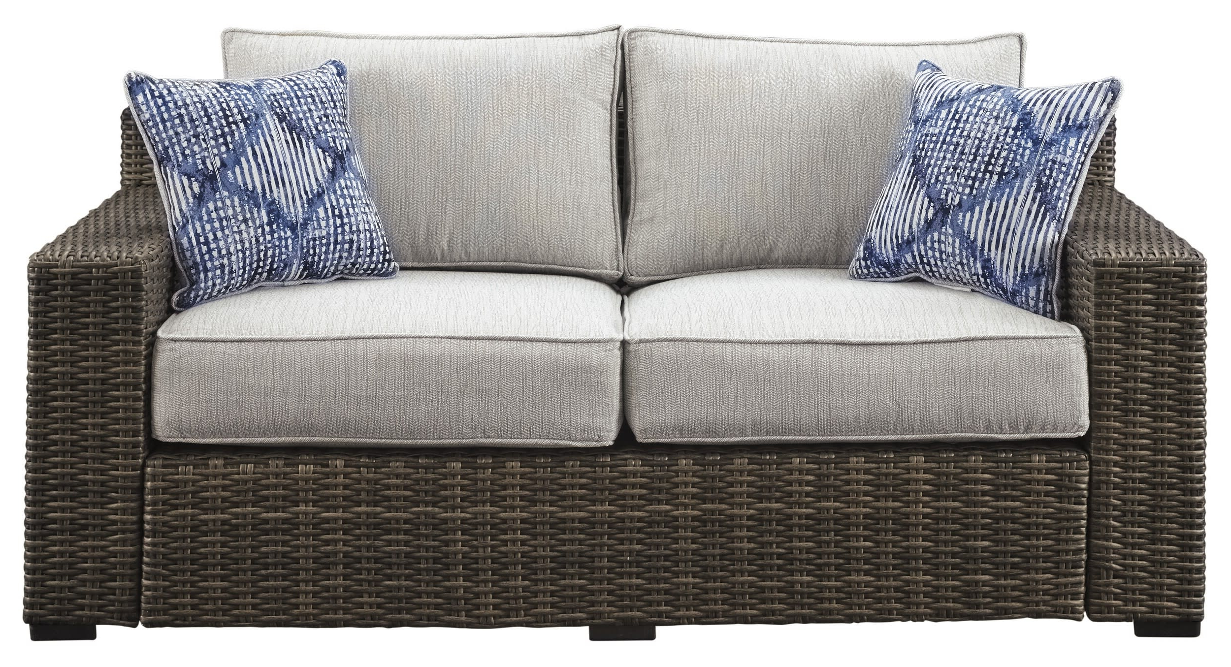Most Recent Oceanside Outdoor Wicker Loveseats With Cushions Intended For Signature Designashley P782 (View 13 of 25)