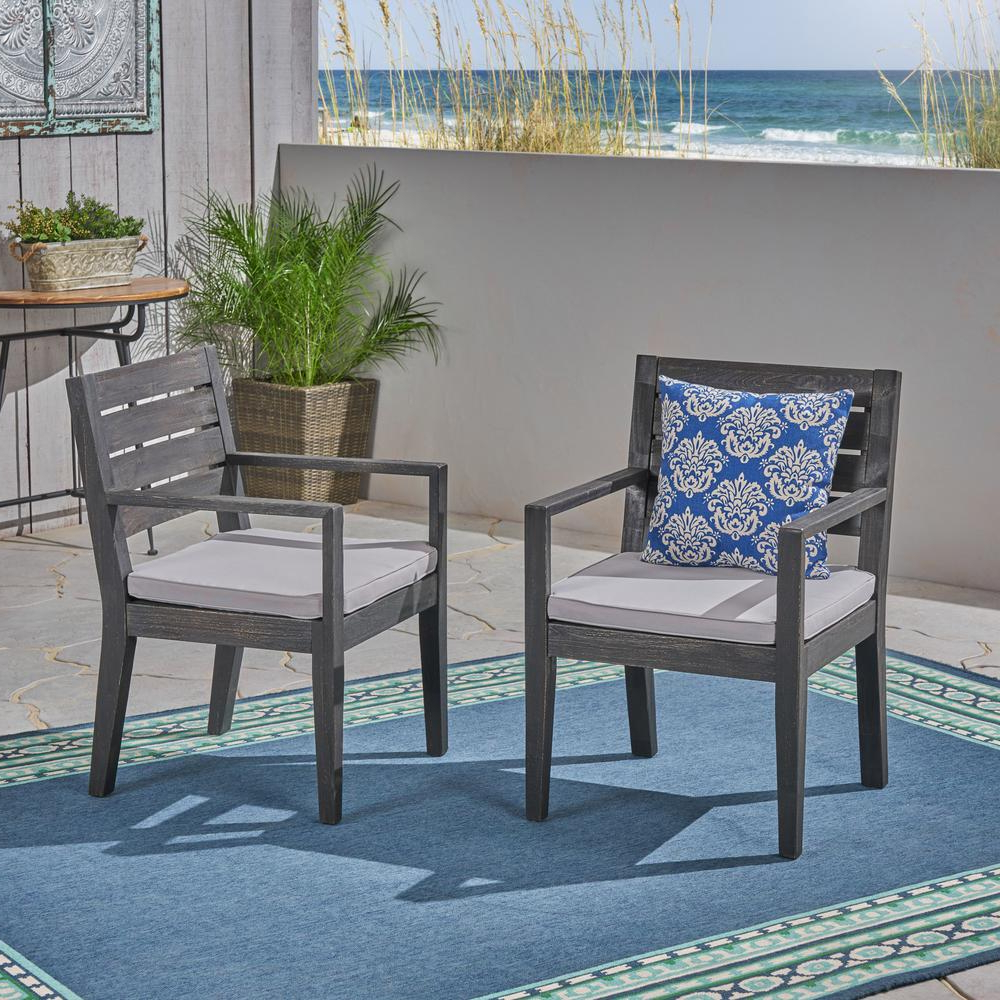 Most Recent Tegan Patio Sofas With Cushions Inside Noble House Tegan Sandblast Dark Grey Stationary Wood Outdoor Dining Chair With Light Gray Cushion (2 Pack) (View 16 of 25)