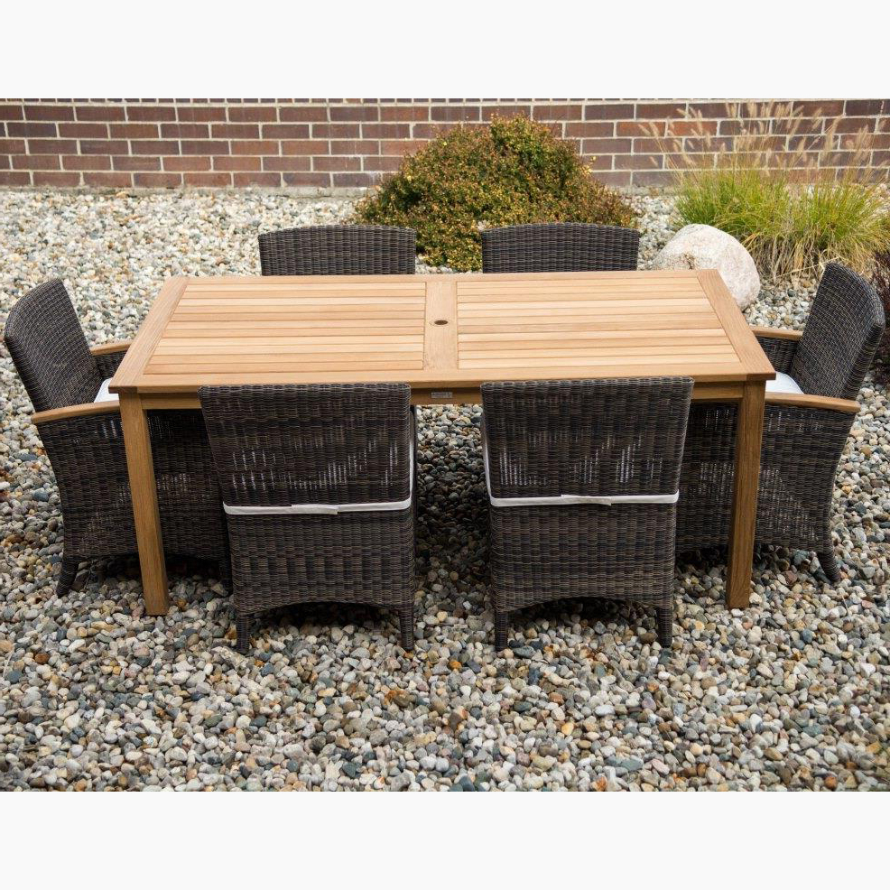 Most Recent Three Birds Brunswick Teak & Wicker Dining Set Throughout Brunswick Teak Patio Sofas With Cushions (View 20 of 25)