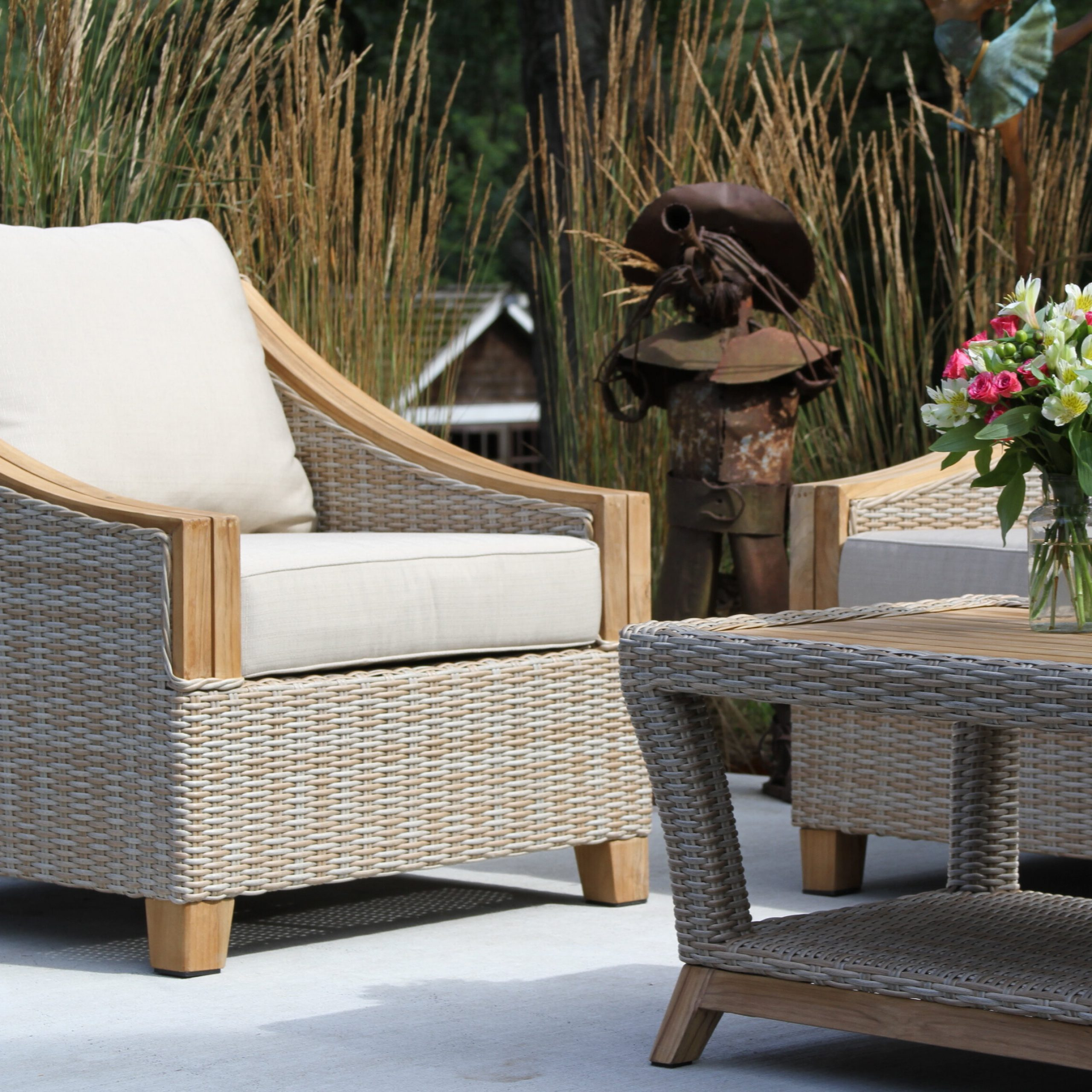 Most Recently Released Brunswick Teak Patio Sofas With Cushions Inside Kincaid Teak Patio Chair With Cushions (Gallery 19 of 25)