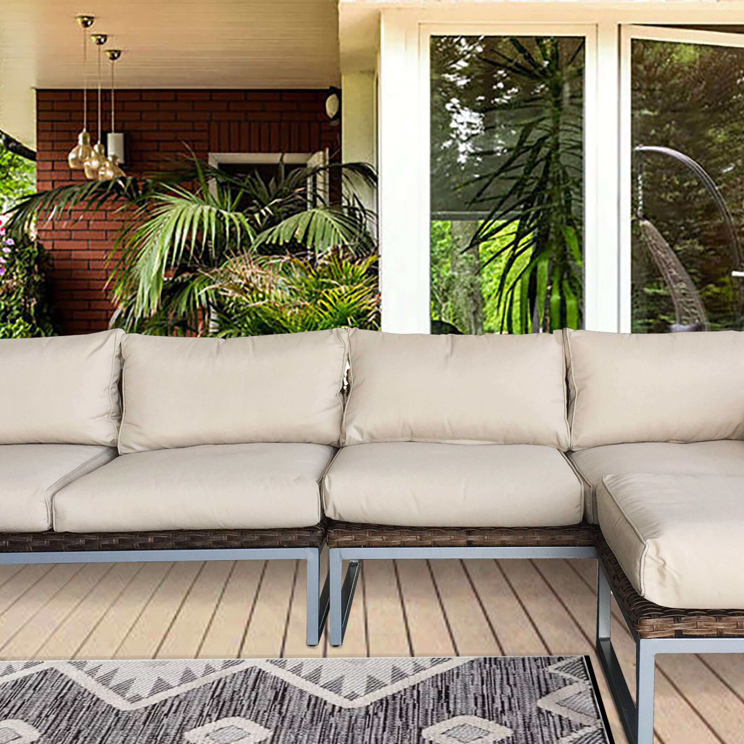 Most Recently Released Honeycutt Patio Sofa With Cushions Inside Honeycutt Patio Sofas With Cushions (View 3 of 25)