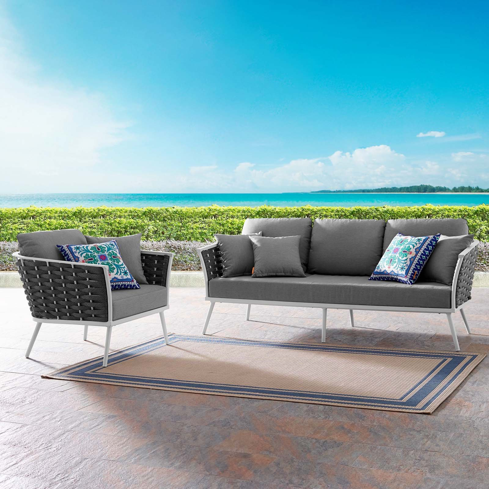 Most Recently Released Rossville Outdoor Patio Sofas With Cushions Regarding Marketonic 2 Piece Outdoor Patio Aluminum Sectional Sofa Set (View 3 of 25)