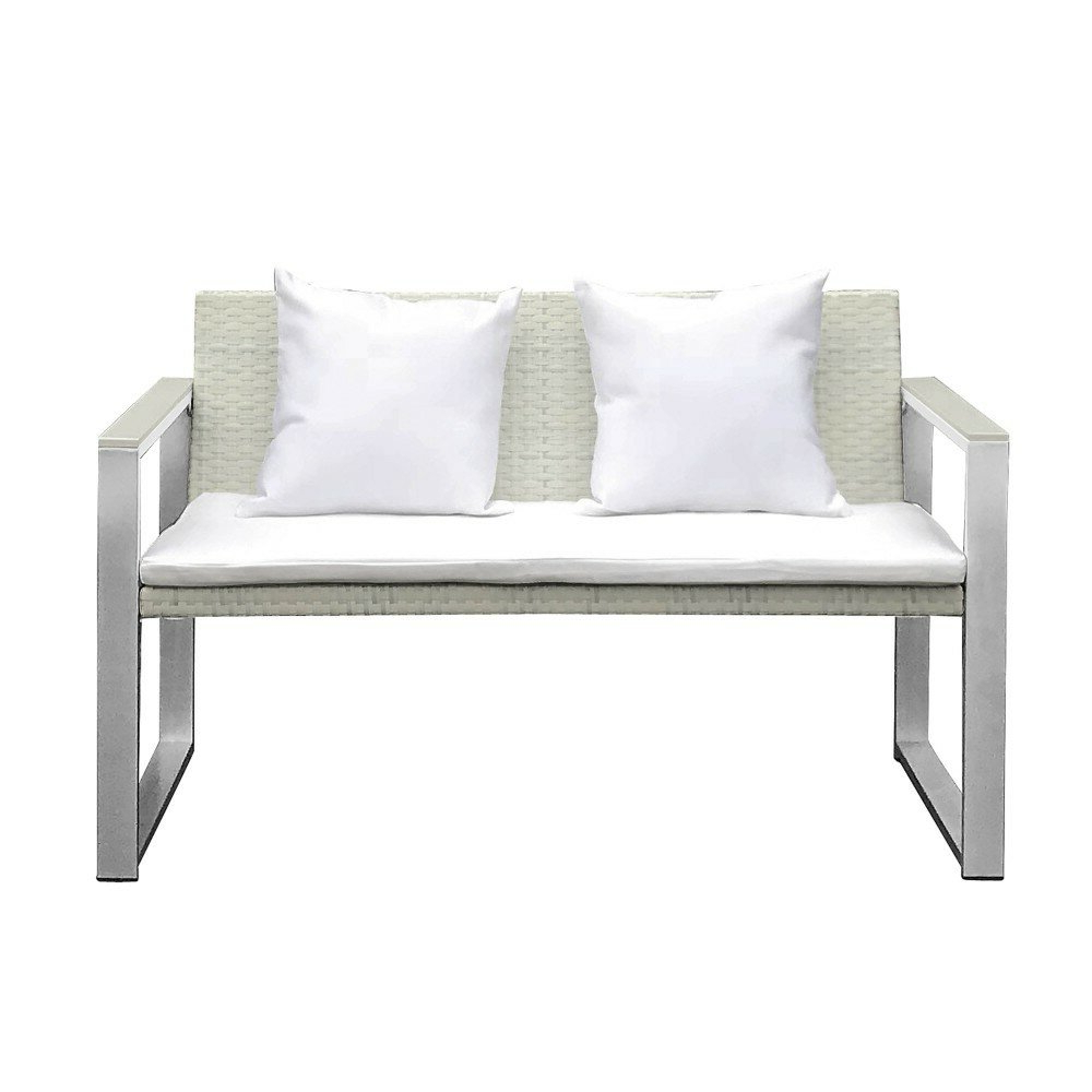 Featured Photo of Zeman Ultra Comfortable Upholstered Anodized Aluminum Loveseats With Cushion