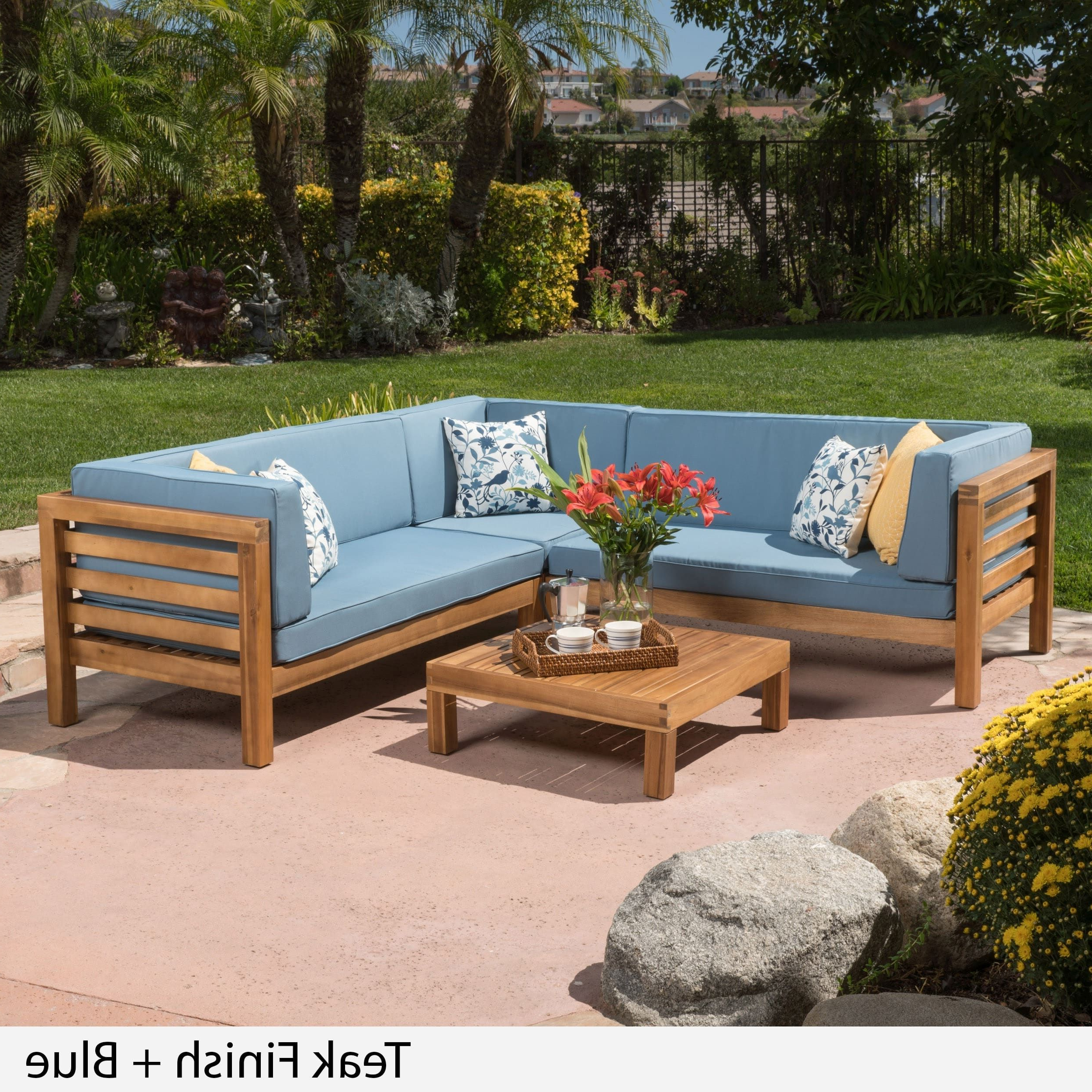 Most Up To Date O'kean Teak Patio Sofas With Cushions Inside Oana Outdoor 4 Piece Acacia Wood Sectional Sofa Set With (Gallery 5 of 25)
