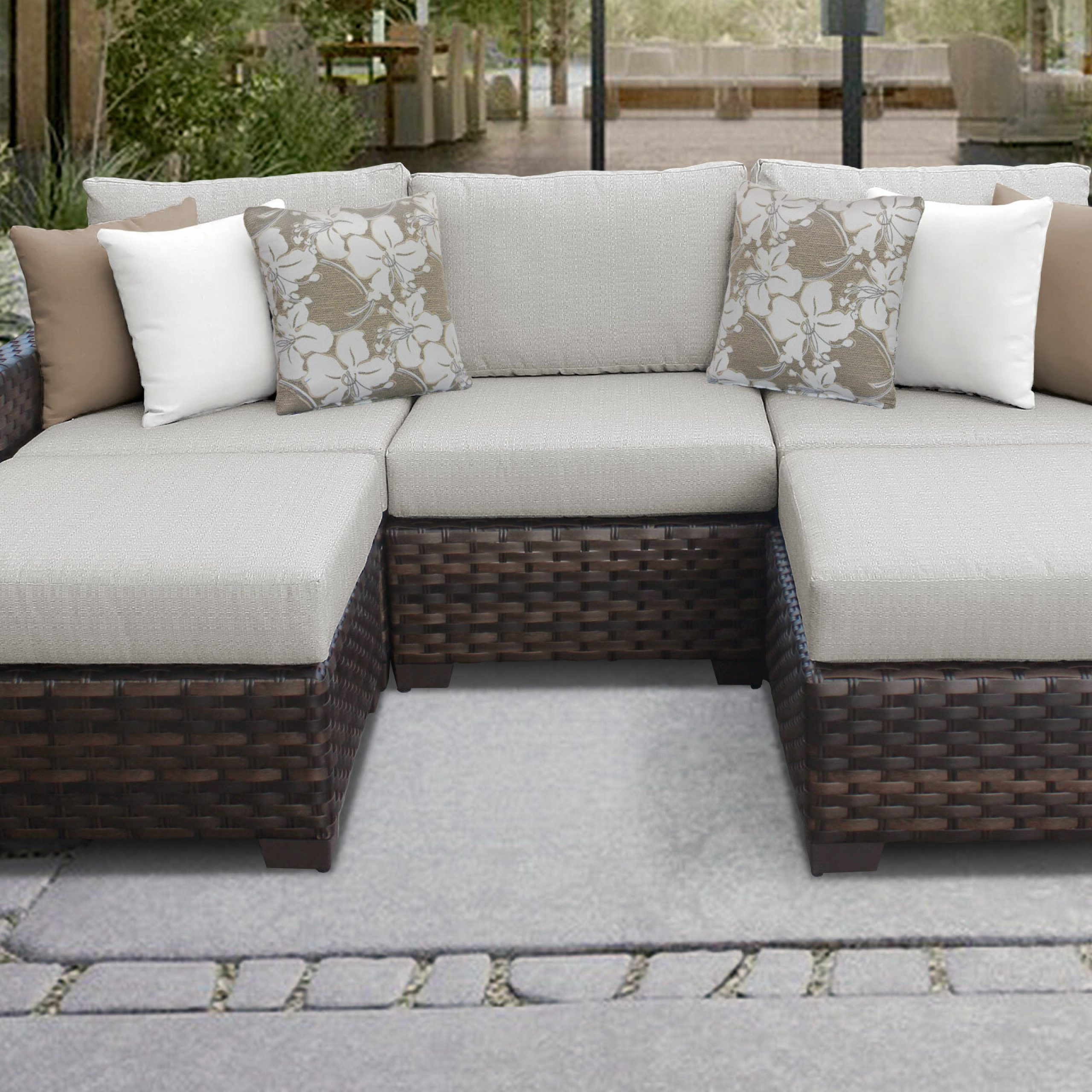 Most Up To Date Ostrowski Patio Sectionals With Cushions Within Kathy Ireland Homes & Gardens River Brook Single Ash Wicker Patio Sectional With Cushions (View 19 of 25)
