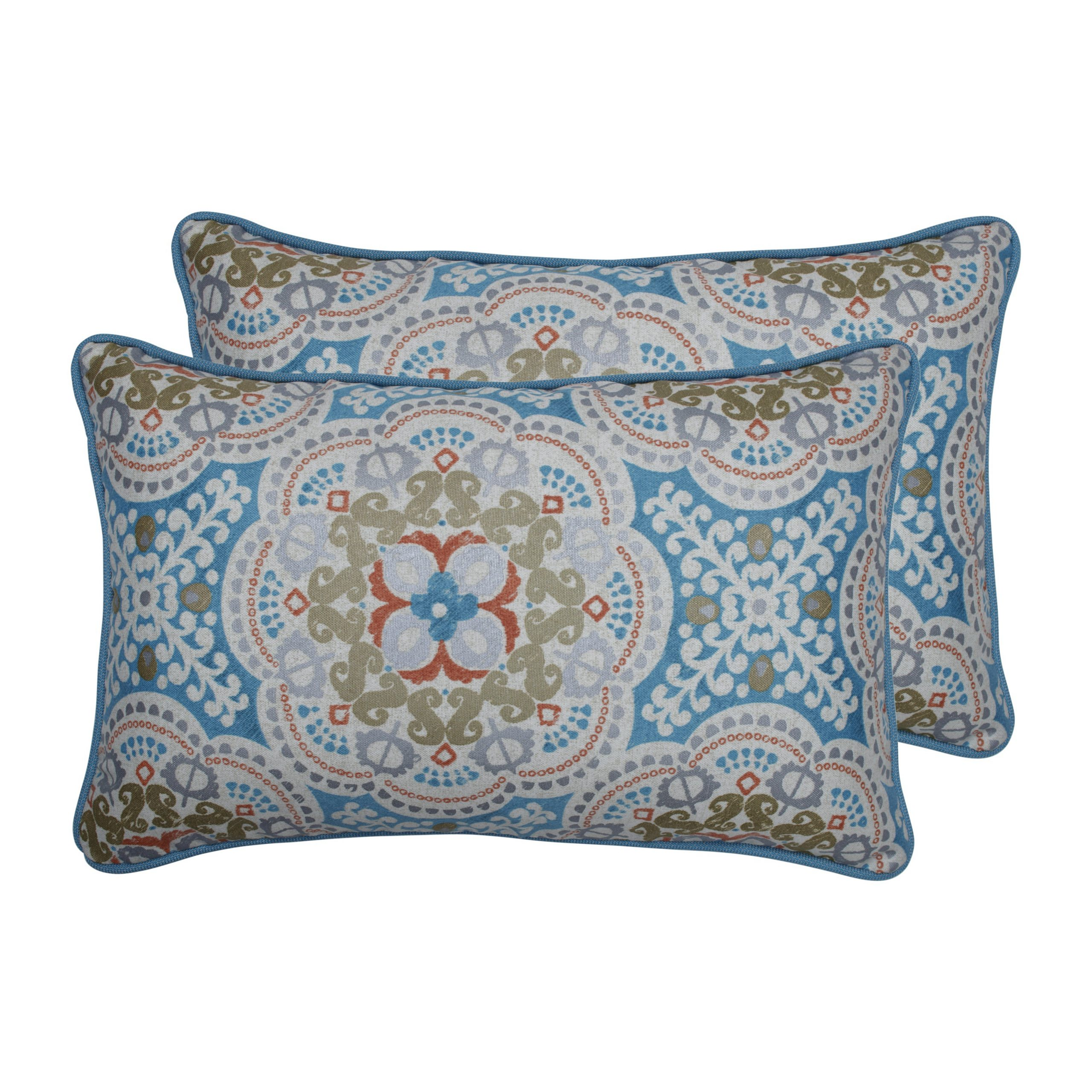 Most Up To Date Pillow Perfect Outdoor / Indoor Astrid Aqua Blue Rectangular Throw Pillow  (Set Of 2) Inside Astrid Wicker Patio Sofas With Cushions (View 14 of 25)