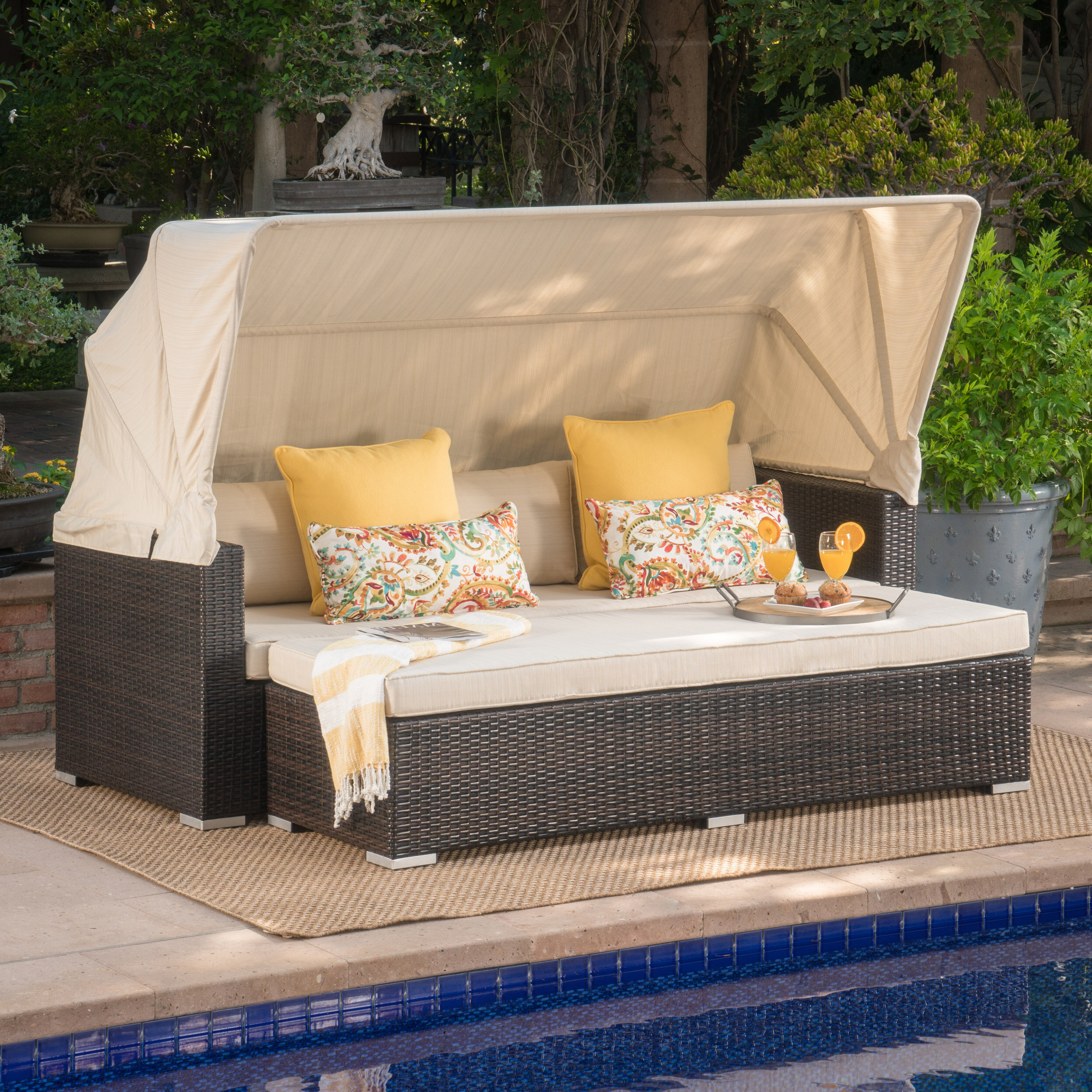 Naperville Patio Daybeds With Cushion For Most Up To Date Lammers Outdoor Wicker Daybed With Cushions (View 14 of 25)