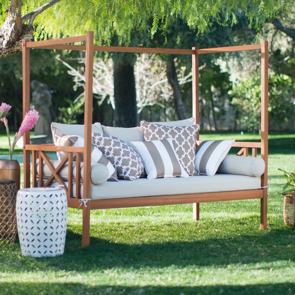 Naperville Patio Daybeds With Cushion Inside Latest Khaki Cushion Patio Daybed Ottoman Set Outdoor Home Furniture Garden Backyard (View 5 of 25)