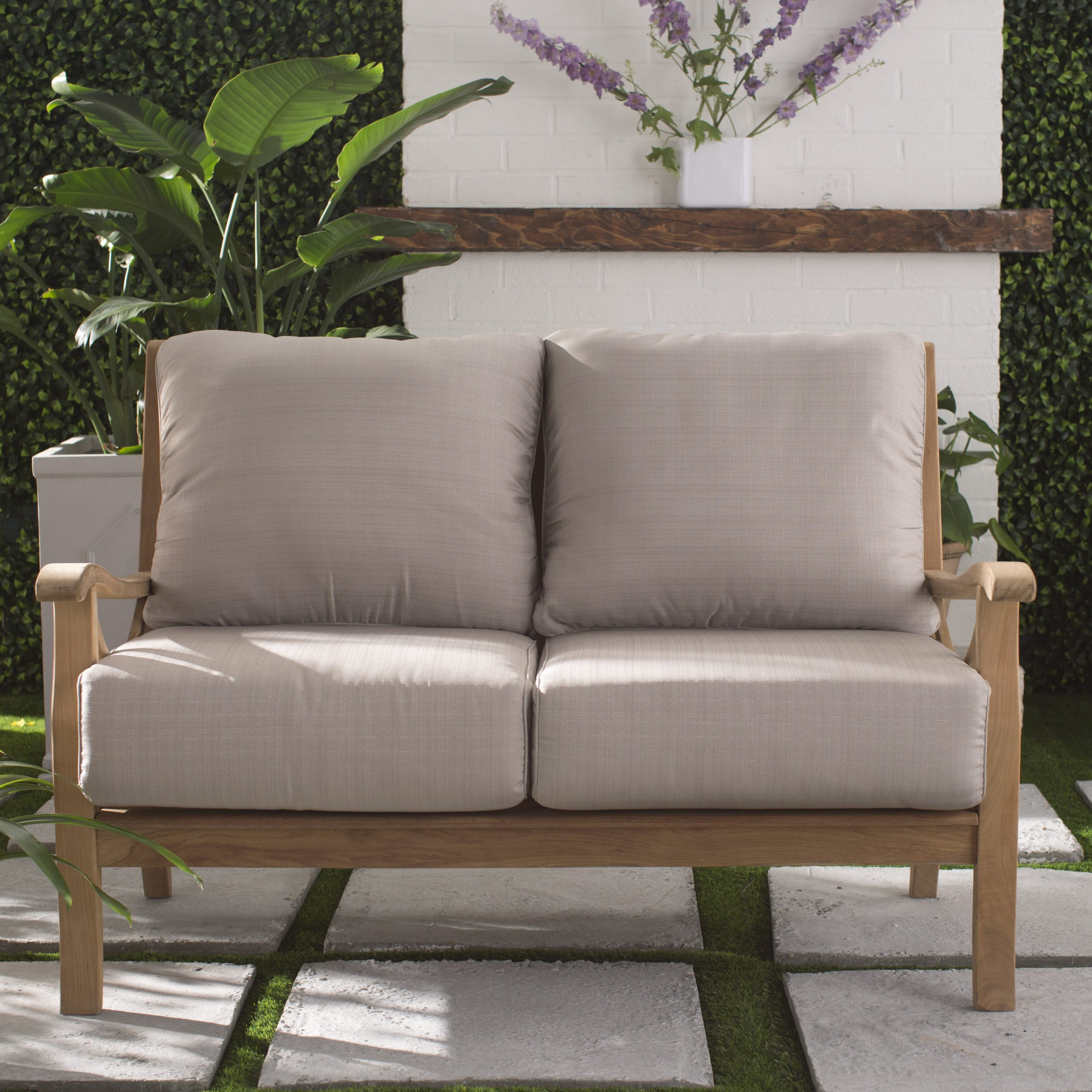 Newest Hagler Outdoor Loveseats With Cushions Within Brunswick Teak Loveseat With Cushions (Gallery 18 of 25)