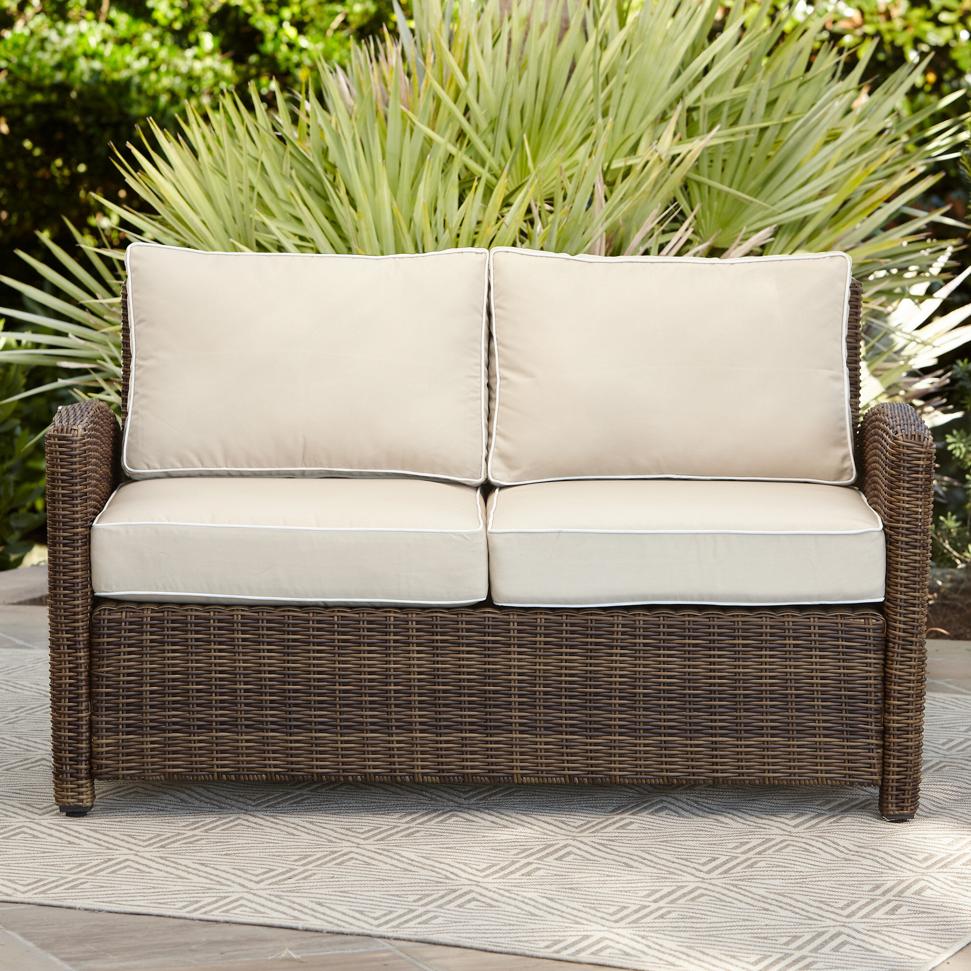 Newest Jamilla Teak Patio Sofas With Cushion With Birch Lane™ Heritage Lawson Wicker Loveseat With Cushions (View 19 of 25)