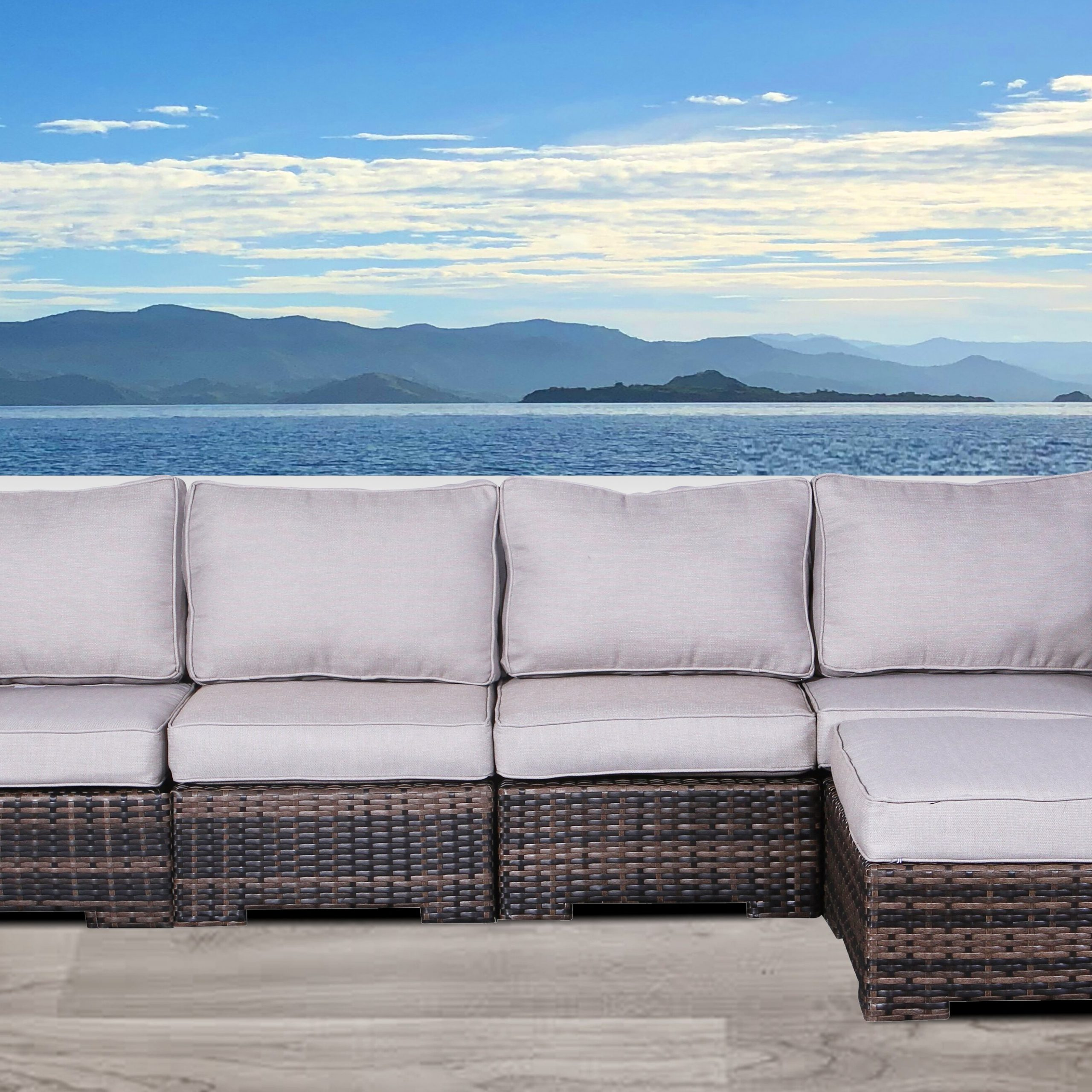 Newest Letona Patio Sectionals With Cushions For Letona Resort Patio Sectional With Cushions (View 2 of 25)