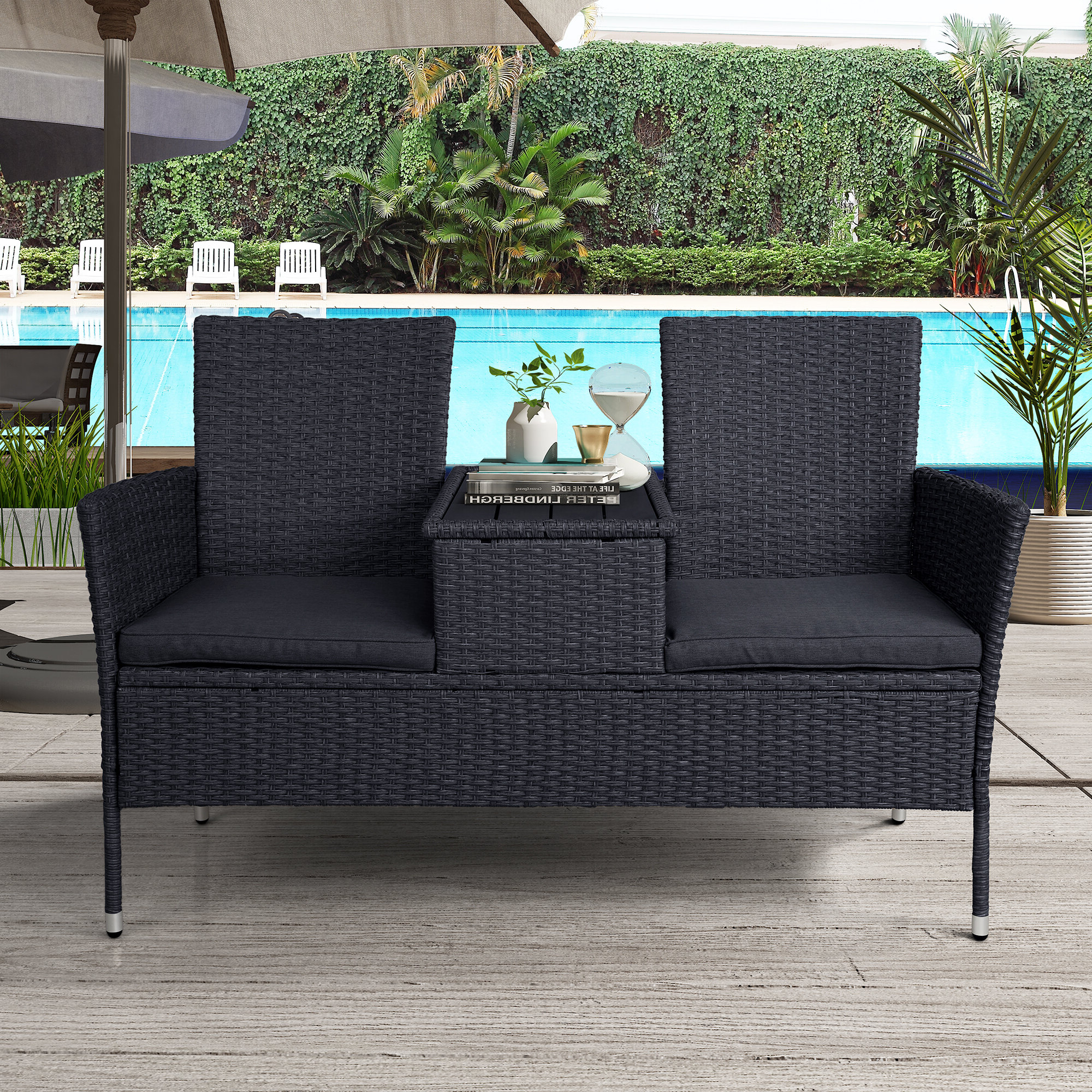 Newest Menoher Outdoor Loveseat With Cushions With Furst Outdoor Loveseats With Cushions (View 8 of 25)