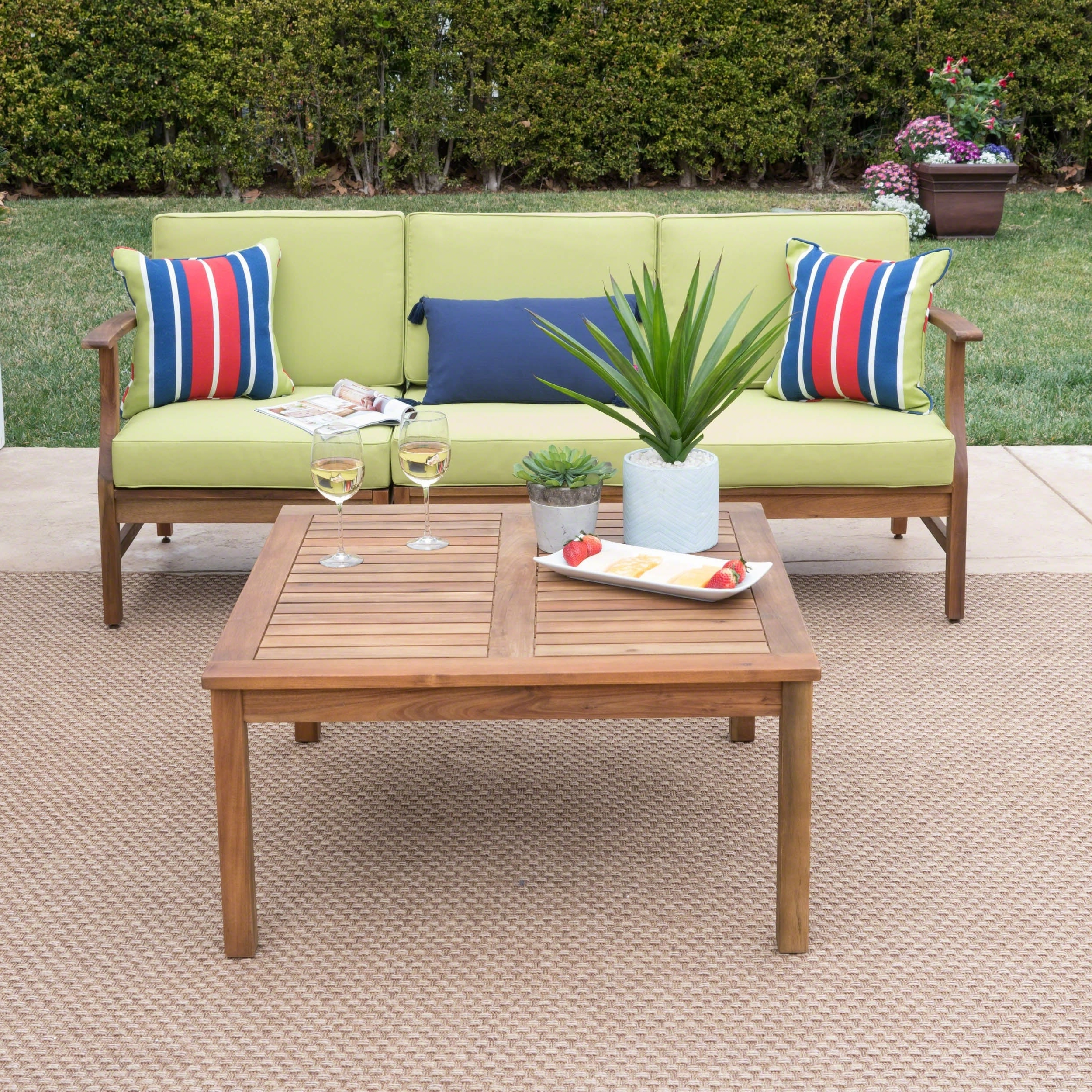 Newest O'kean Teak Patio Sofas With Cushions With Regard To Perla Outdoor Acacia Wood 4 Piece Sofa And Table Set With Cushions Christopher Knight Home (View 11 of 25)