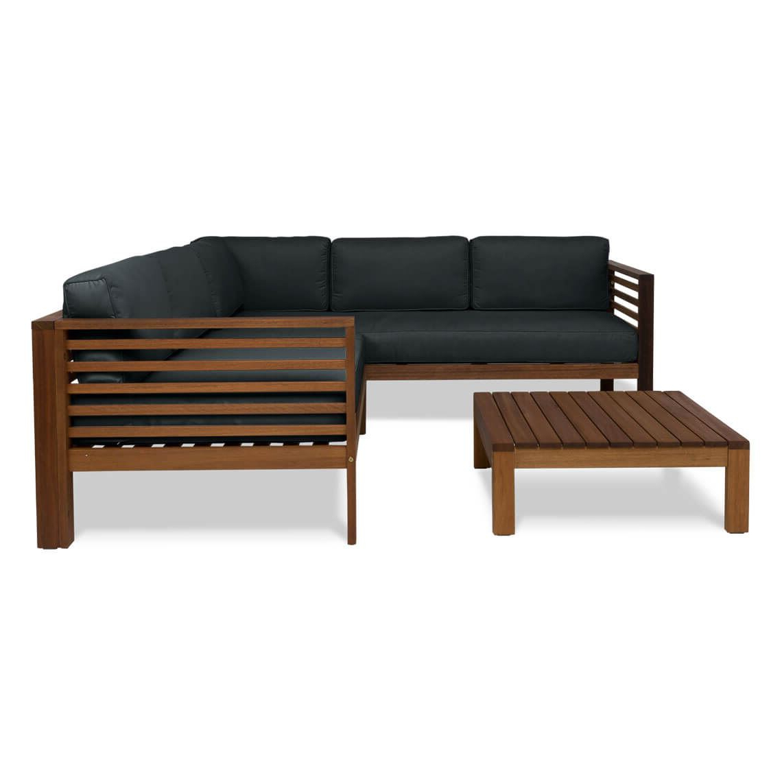 Newest Olinda 4 Piece Teak Sectionals Seating Group With Cushions In Milford 3 Piece Outdoor Lounge Set With Right Arm Facing (View 13 of 25)