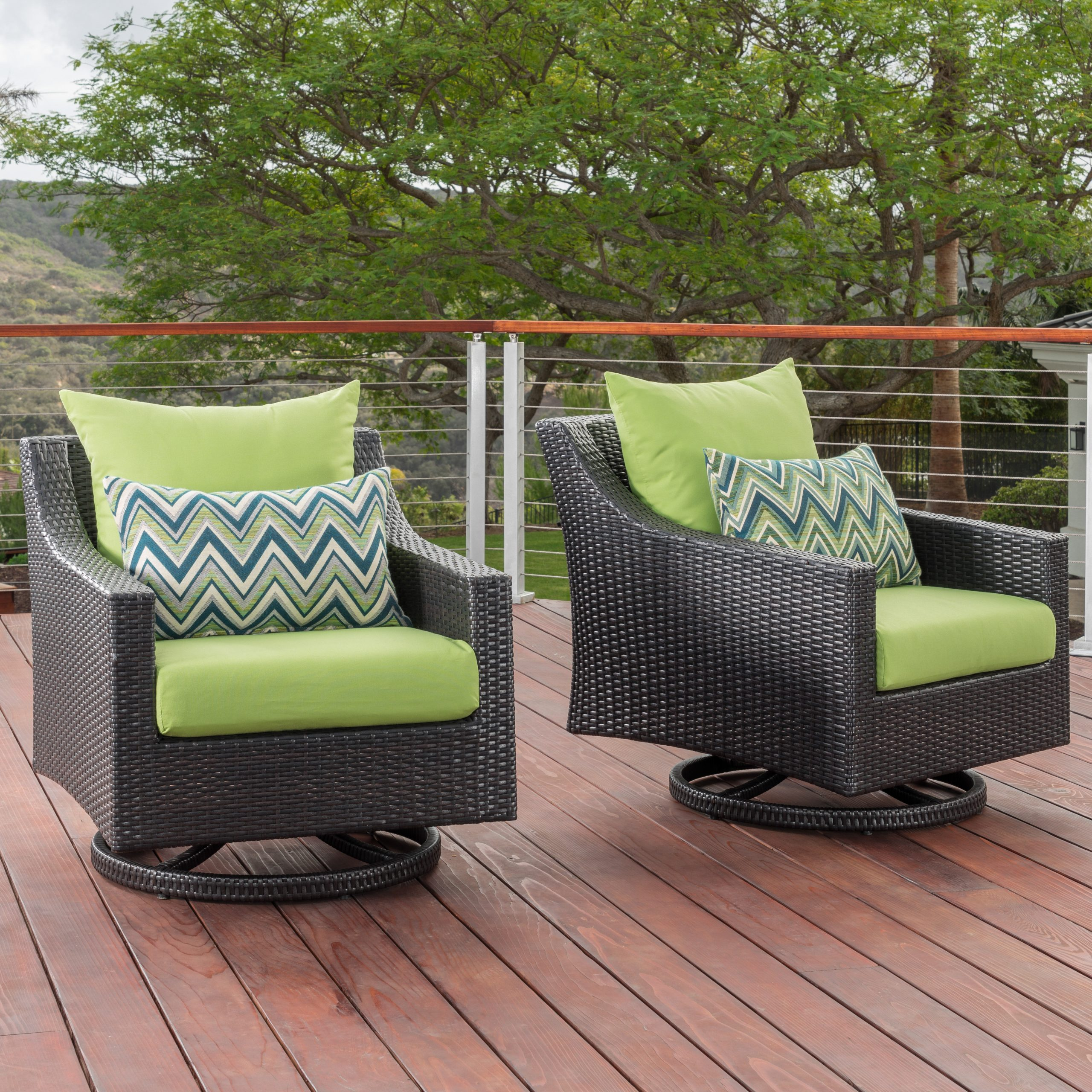 Northridge Swivel 2 Piece Patio Chair With Cushions For Widely Used 4 Piece Sierra Sunbrella Seating Group (View 12 of 25)