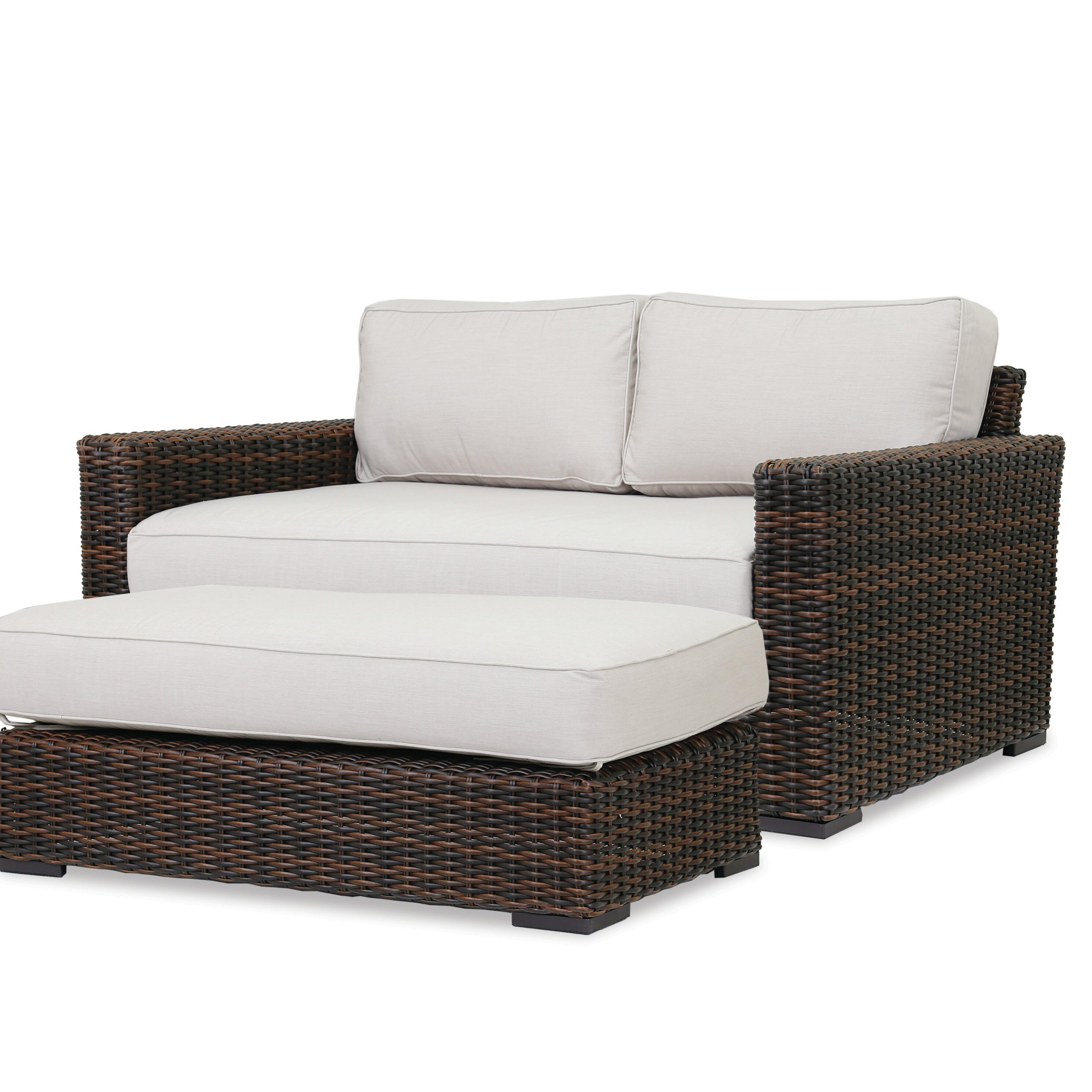 Oceanside Outdoor Wicker Loveseats With Cushions Regarding Trendy Sunset West Montecito Loveseat With Sunbrella Cushions (View 12 of 25)