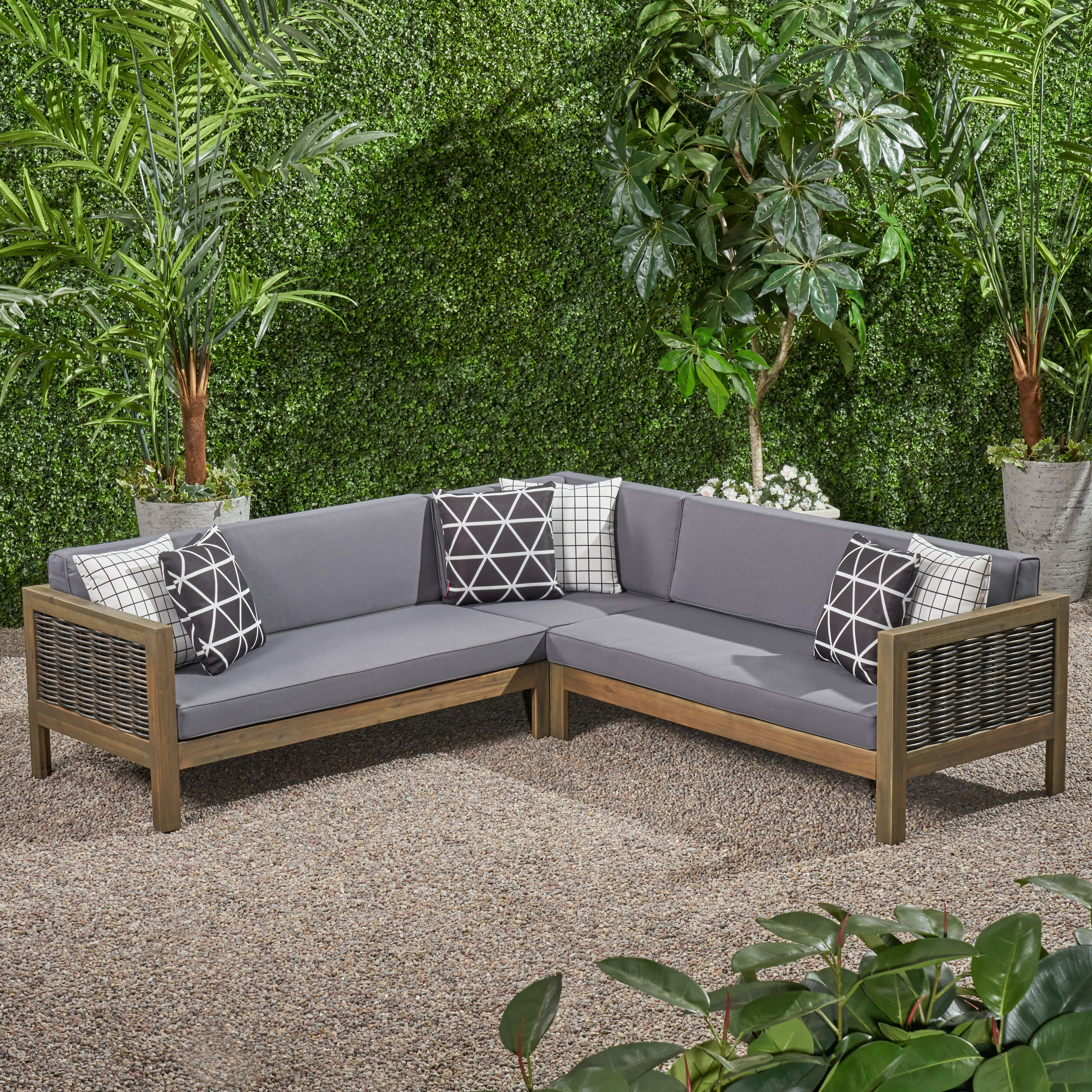 O'kean Teak Patio Sofas With Cushions With Regard To Most Current Kennison Patio Sectional With Cushions (Gallery 23 of 25)