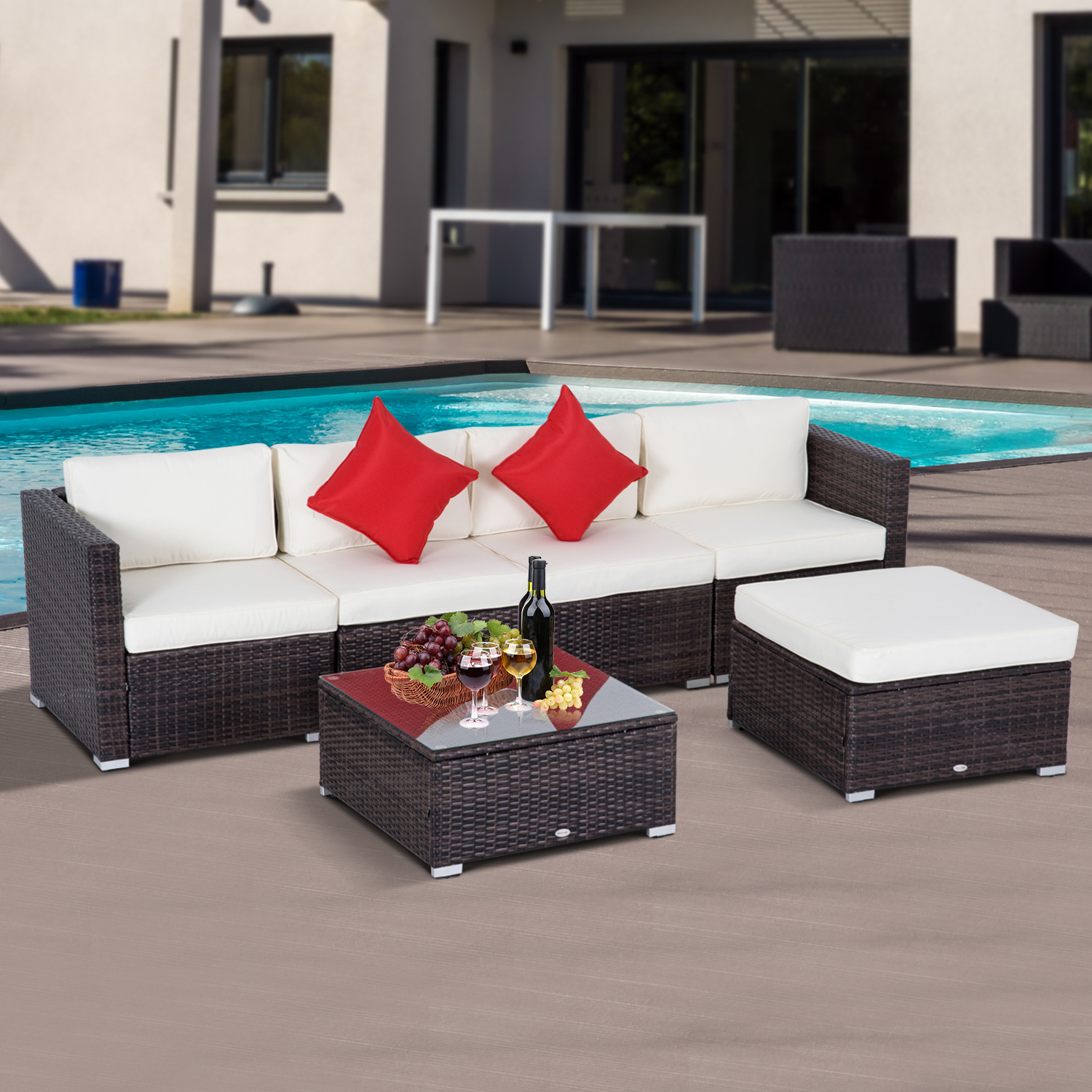 O'kean Teak Patio Sofas With Cushions Within Current Details About Outsunny 6pc Rattan Wicker Patio Sofa Set Sectional Garden Yard Couch Furniture (View 17 of 25)