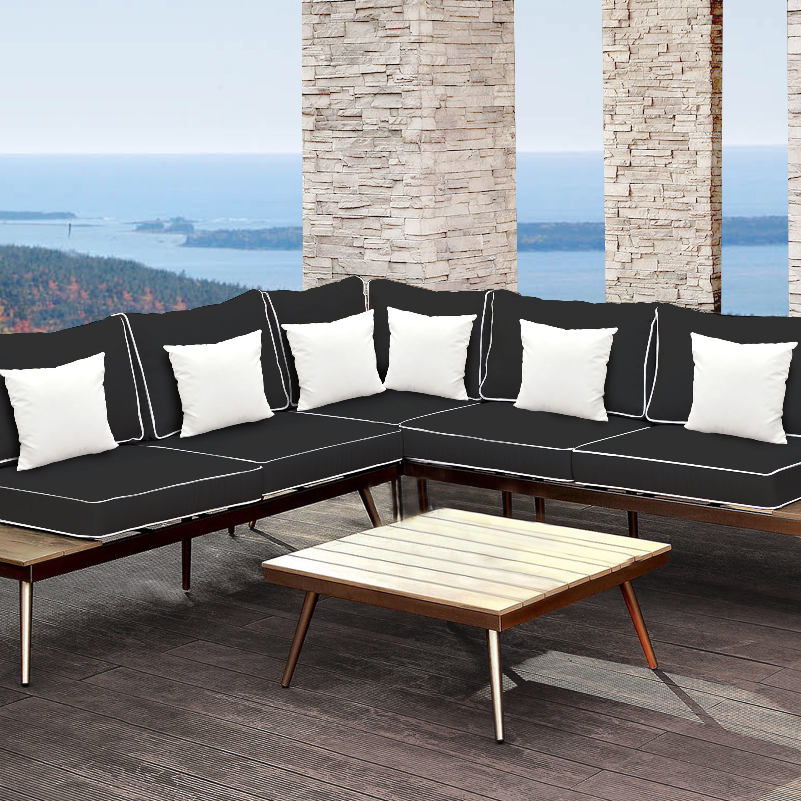 Olinda 4 Piece Teak Sectionals Seating Group With Cushions In Fashionable Wisner 3 Piece Sectional Seating Group With Cushions (View 15 of 25)