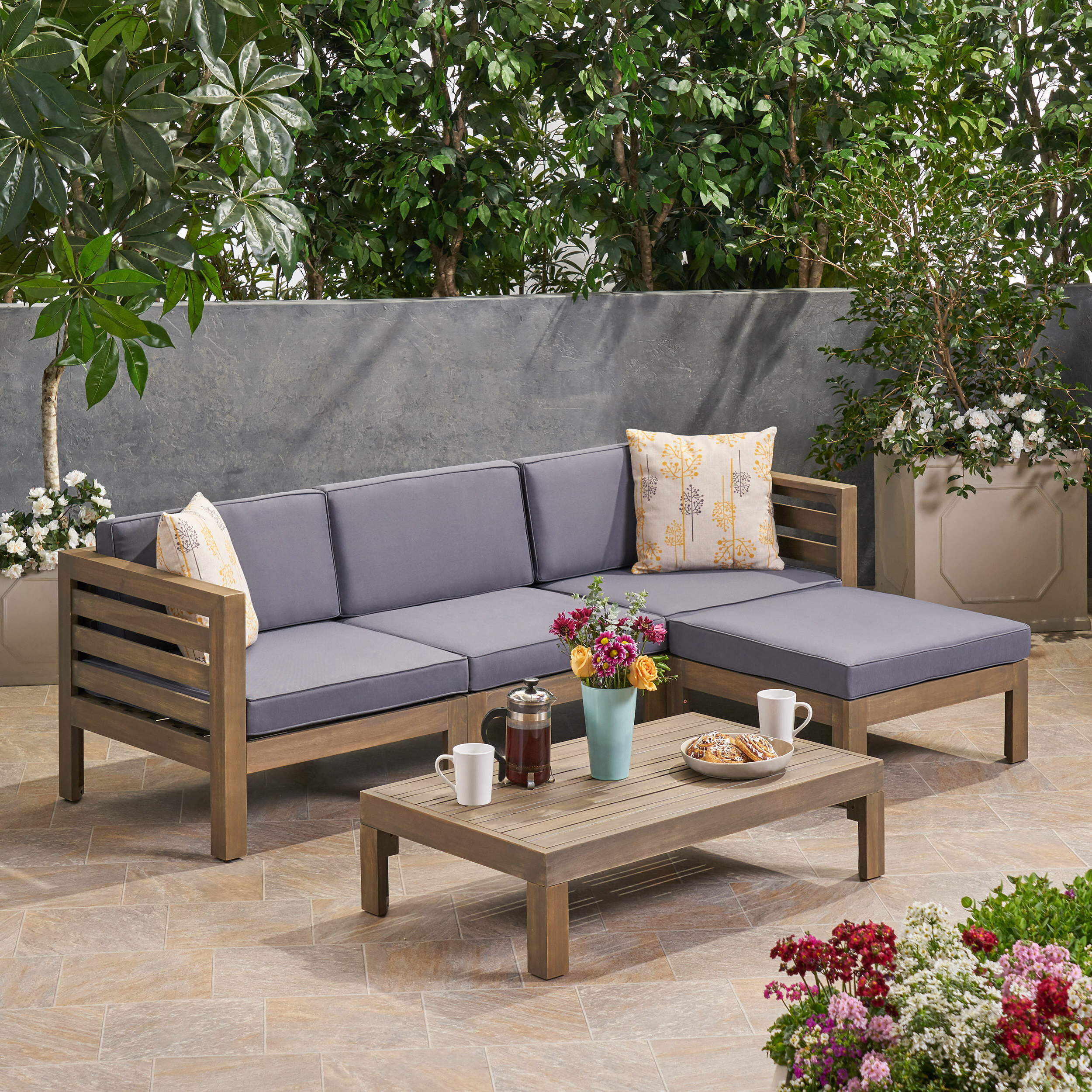 Olinda 4 Piece Teak Sectionals Seating Group With Cushions Throughout Latest Dwayne Outdoor 5 Piece Sectional Seating Group With Cushions (View 22 of 25)