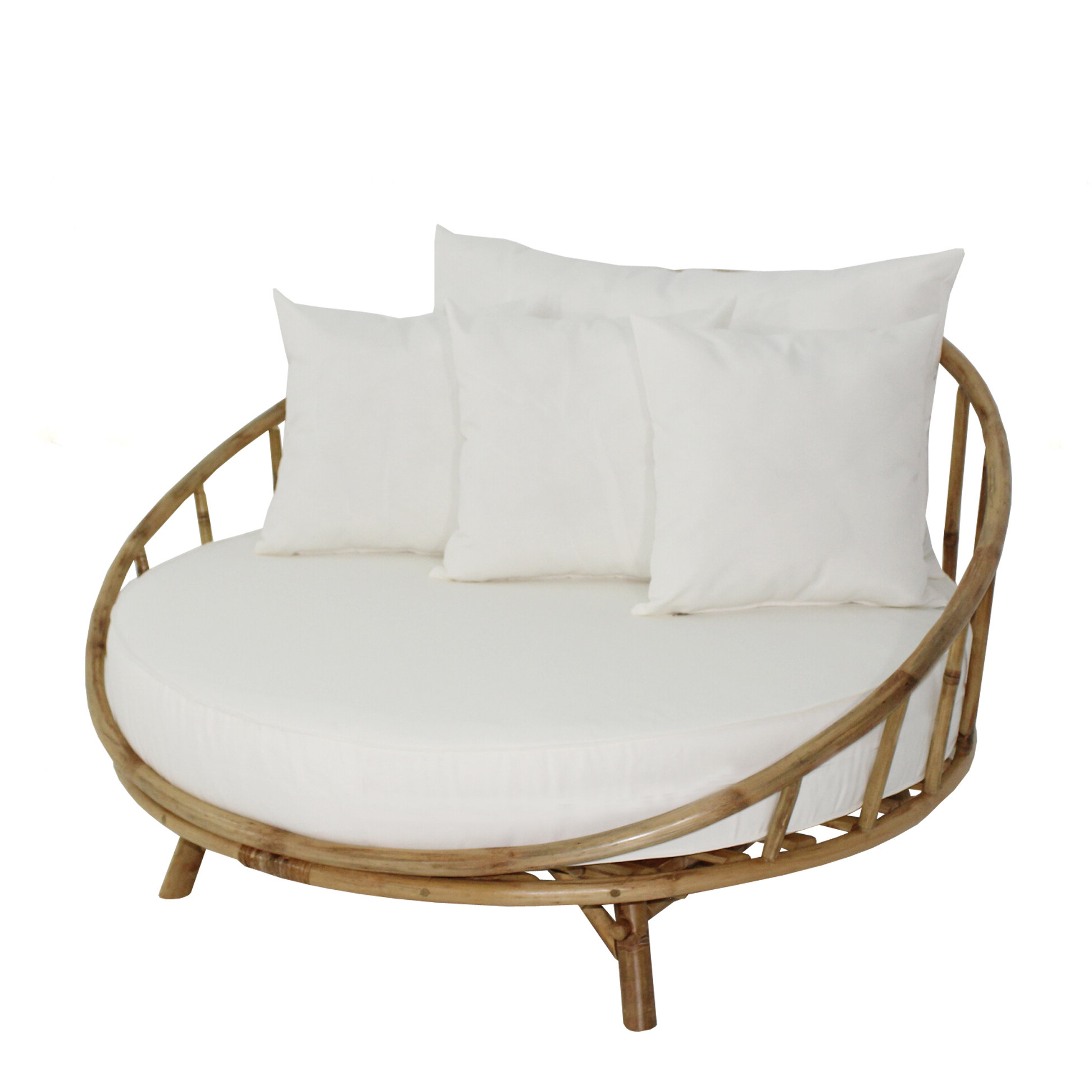 Olu Bamboo Large Round Patio Daybed With Cushions Regarding Recent Dowling Patio Daybeds With Cushion (View 20 of 25)