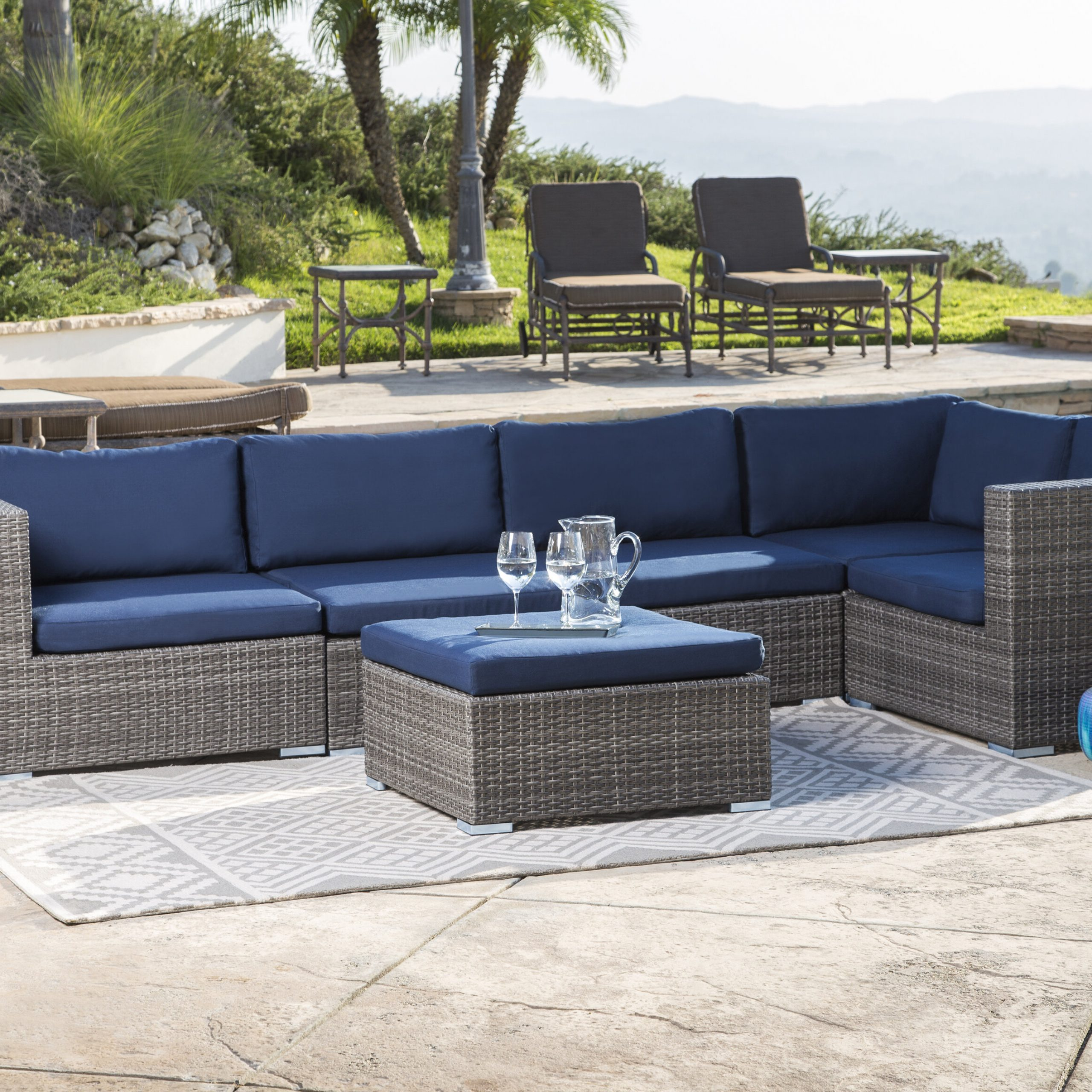 Ostrowski Patio Sectional With Cushions For Famous Honeycutt Patio Sofas With Cushions (View 15 of 25)