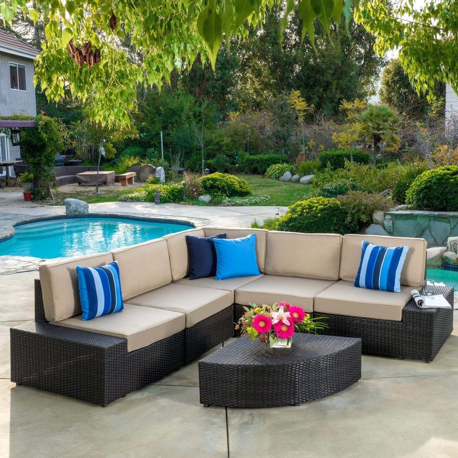 Ostrowski Patio Sectionals With Cushions In Preferred Wicker Patio Sectional – Redsparrowmovie (View 5 of 25)