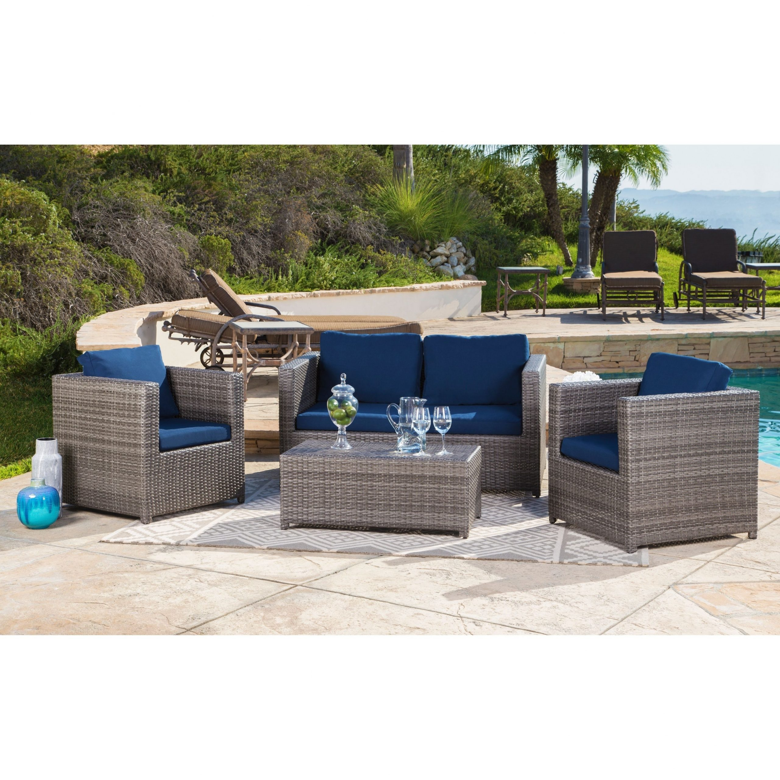 Ostrowski Patio Sectionals With Cushions Intended For Well Known Abbyson Colette Outdoor Grey Wicker 4 Piece Patio Set (View 9 of 25)
