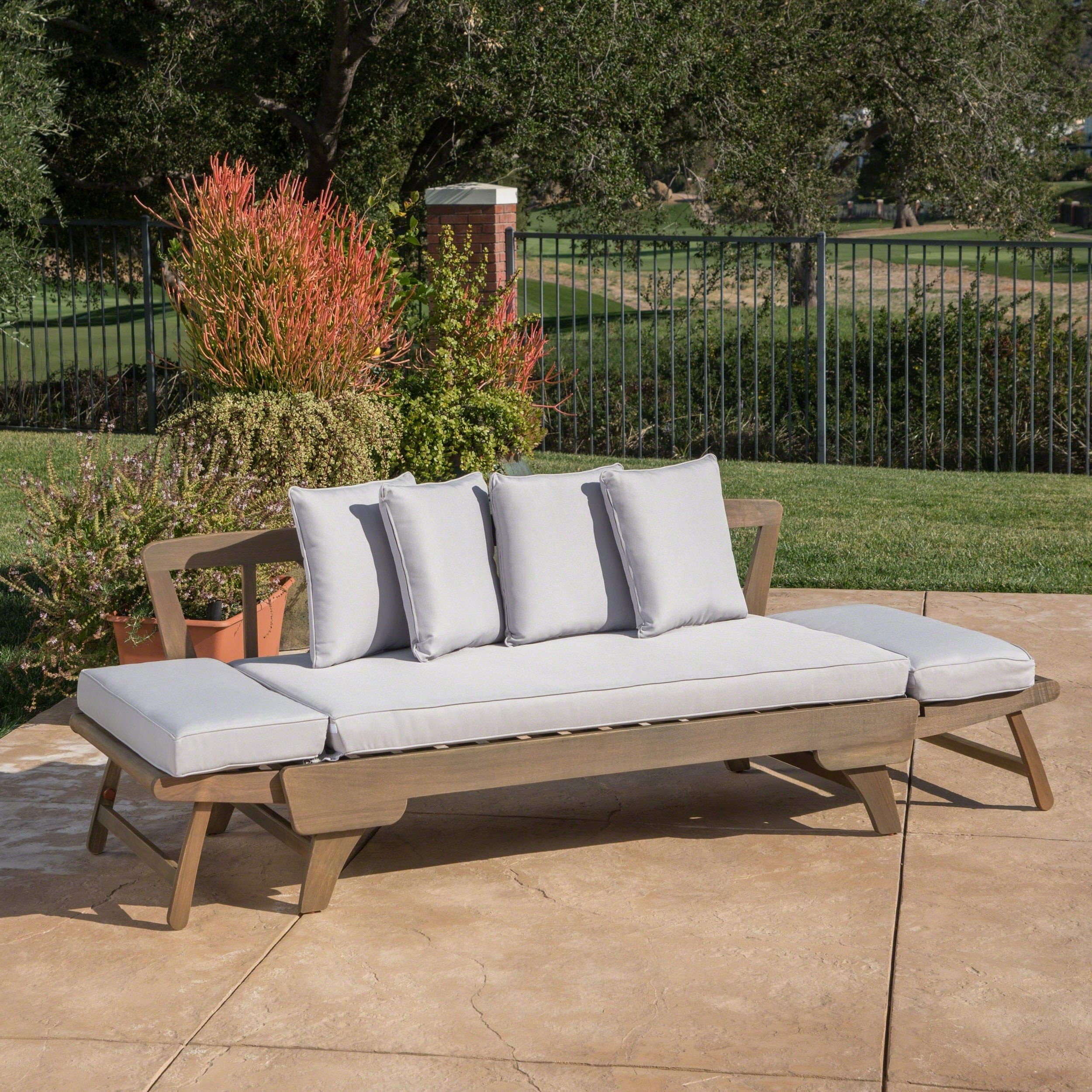Ottavio Outdoor Wood Daybed With Cushionschristopher Intended For Well Liked Ellanti Patio Daybeds With Cushions (Gallery 19 of 25)
