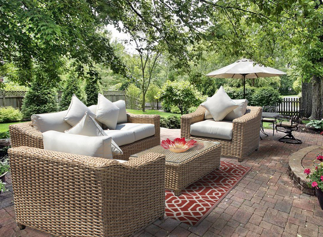 Outdoor In Latest 4 Piece Sierra Sunbrella Seating Group (View 3 of 25)