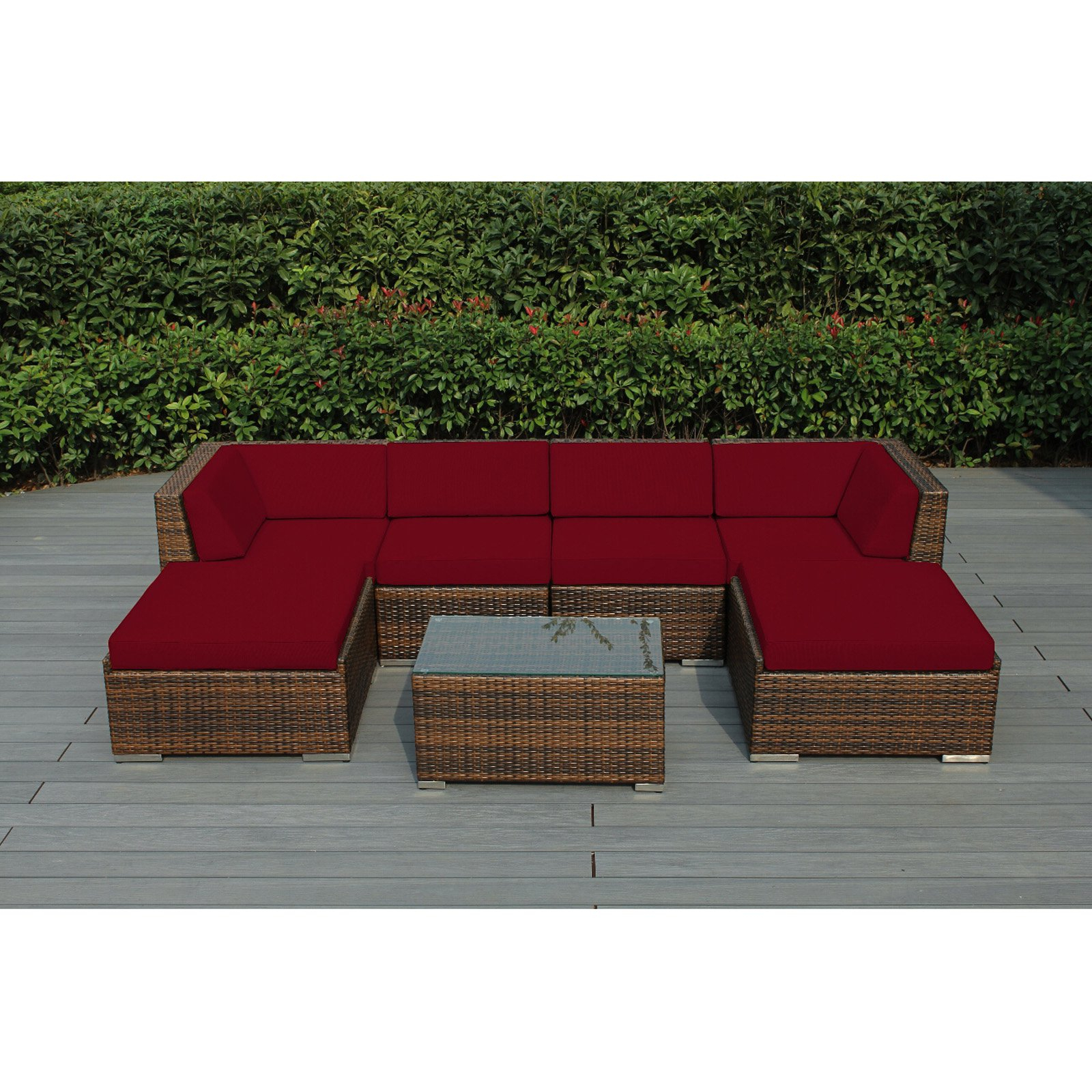 Outdoor Ohana All Weather Wicker 7 Piece Sectional Patio In Trendy Vallauris Storage Patio Sectionals With Cushions (View 25 of 25)