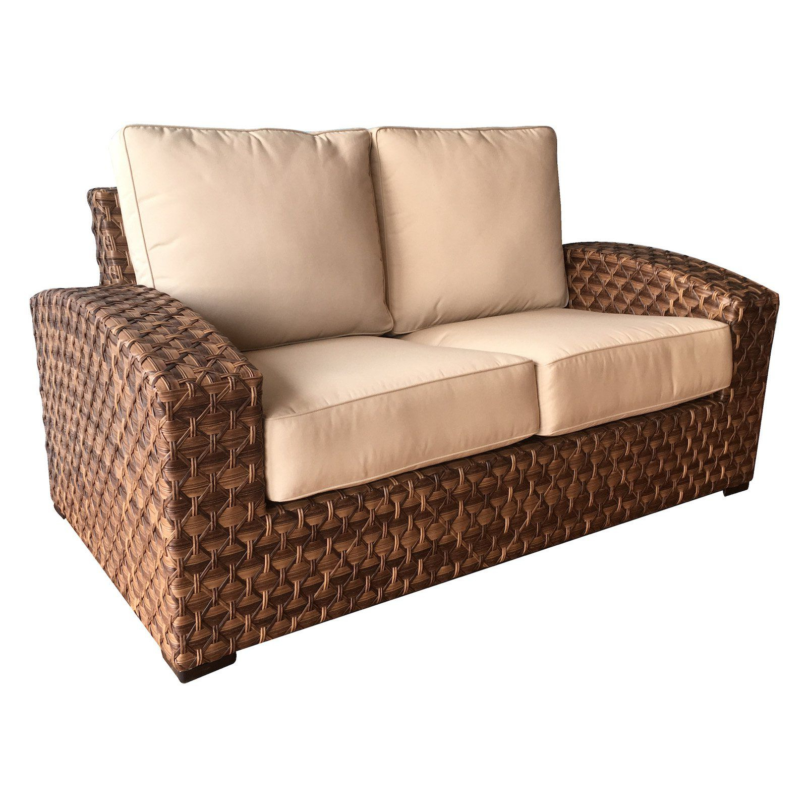 Outdoor Wicker Paradise Westbury Loveseat With Sunbrella Intended For Most Current Lawson Wicker Loveseats With Cushions (Gallery 25 of 25)