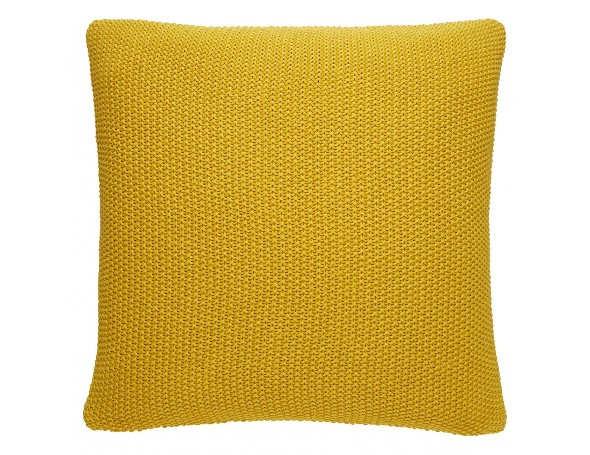 Paloma Saffron Yellow Knitted Cotton Cushion 55 X 55Cm Intended For Well Known Paloma Sofas With Cushions (View 15 of 25)