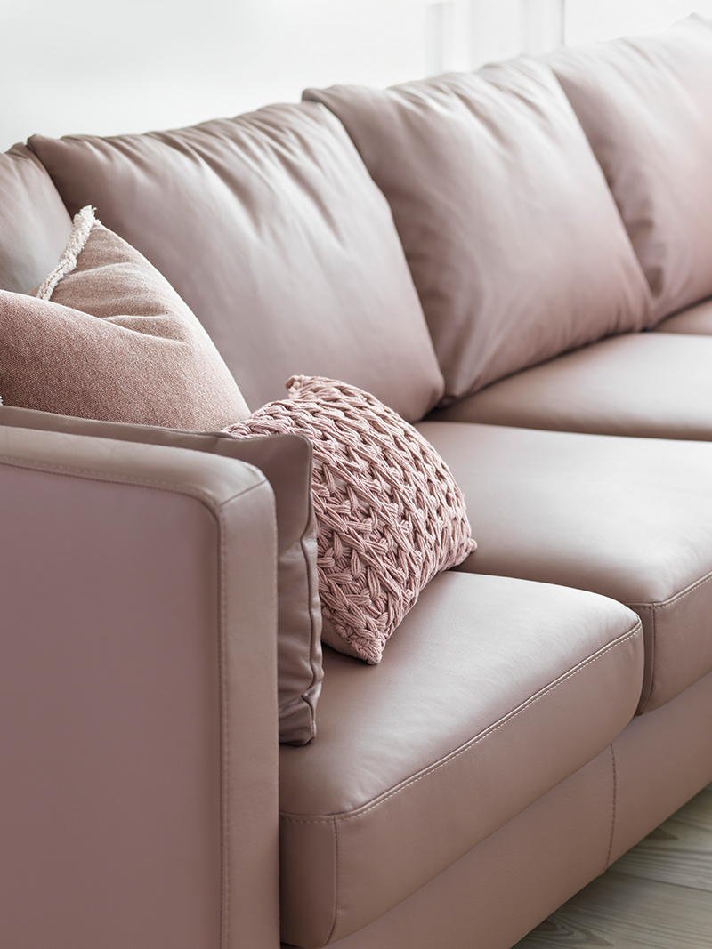 Paloma Sofas With Cushions For Fashionable Stressless E400 Sofa In Leder Paloma Dusty Rose – (View 5 of 25)
