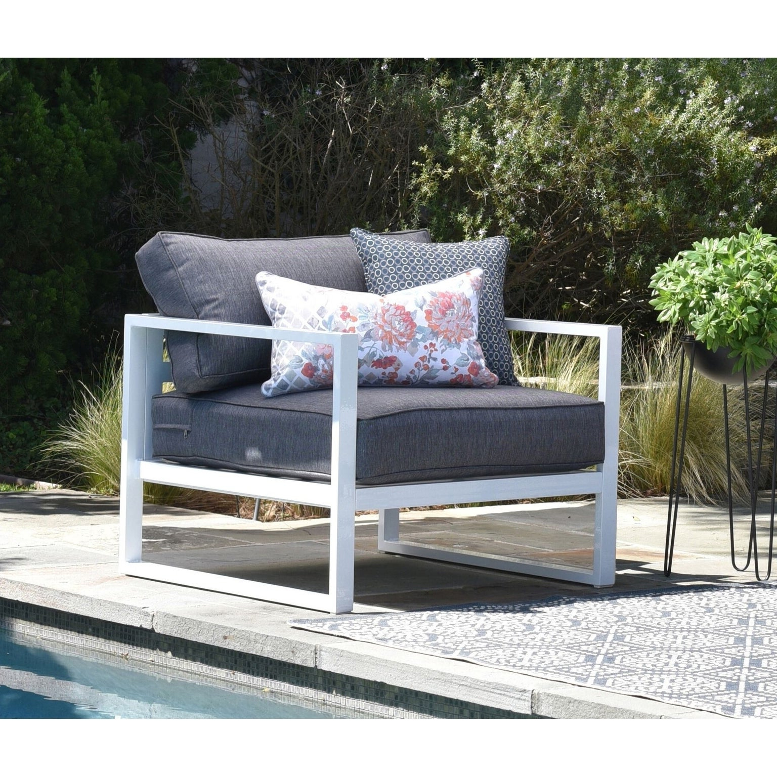 Paloma Sofas With Cushions Regarding Well Known Details About Elle Decor Paloma Outdoor Arm Chair White Single (View 24 of 25)