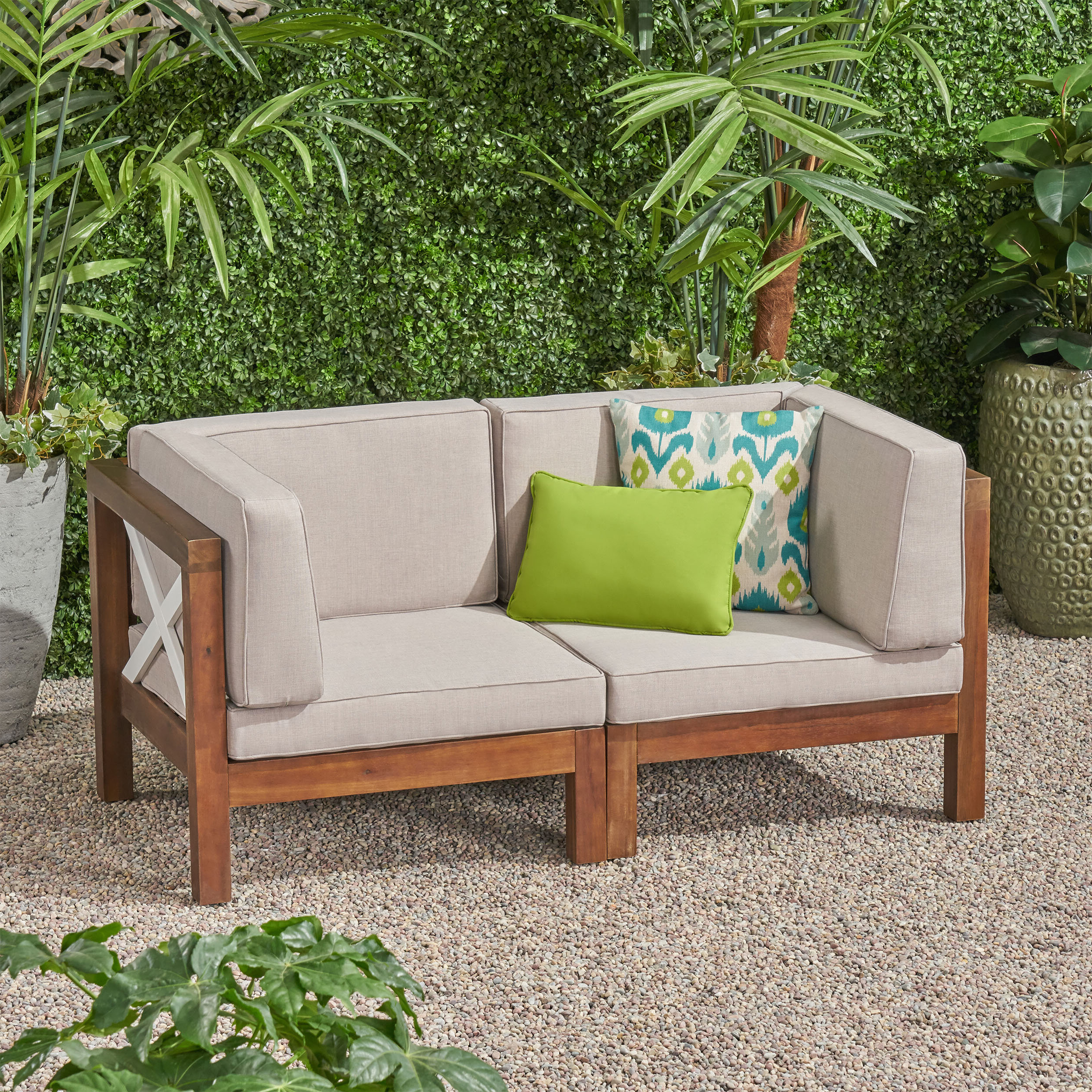 Patel Outdoor Modular Loveseat With Cushions Throughout Newest Menifee Loveseats With Cushions (View 11 of 25)