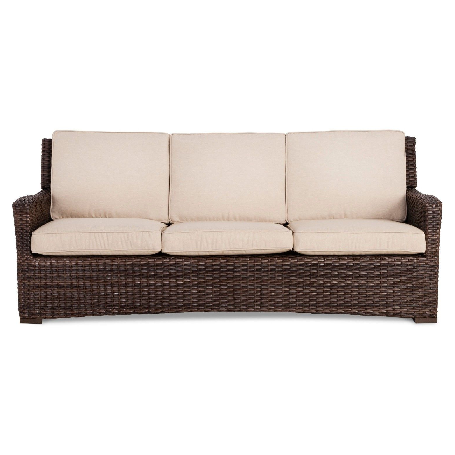 Popular Astrid Wicker Patio Sofas With Cushions Pertaining To Halsted Wicker Patio Sofa With Cushions – Threshold™ (View 4 of 25)