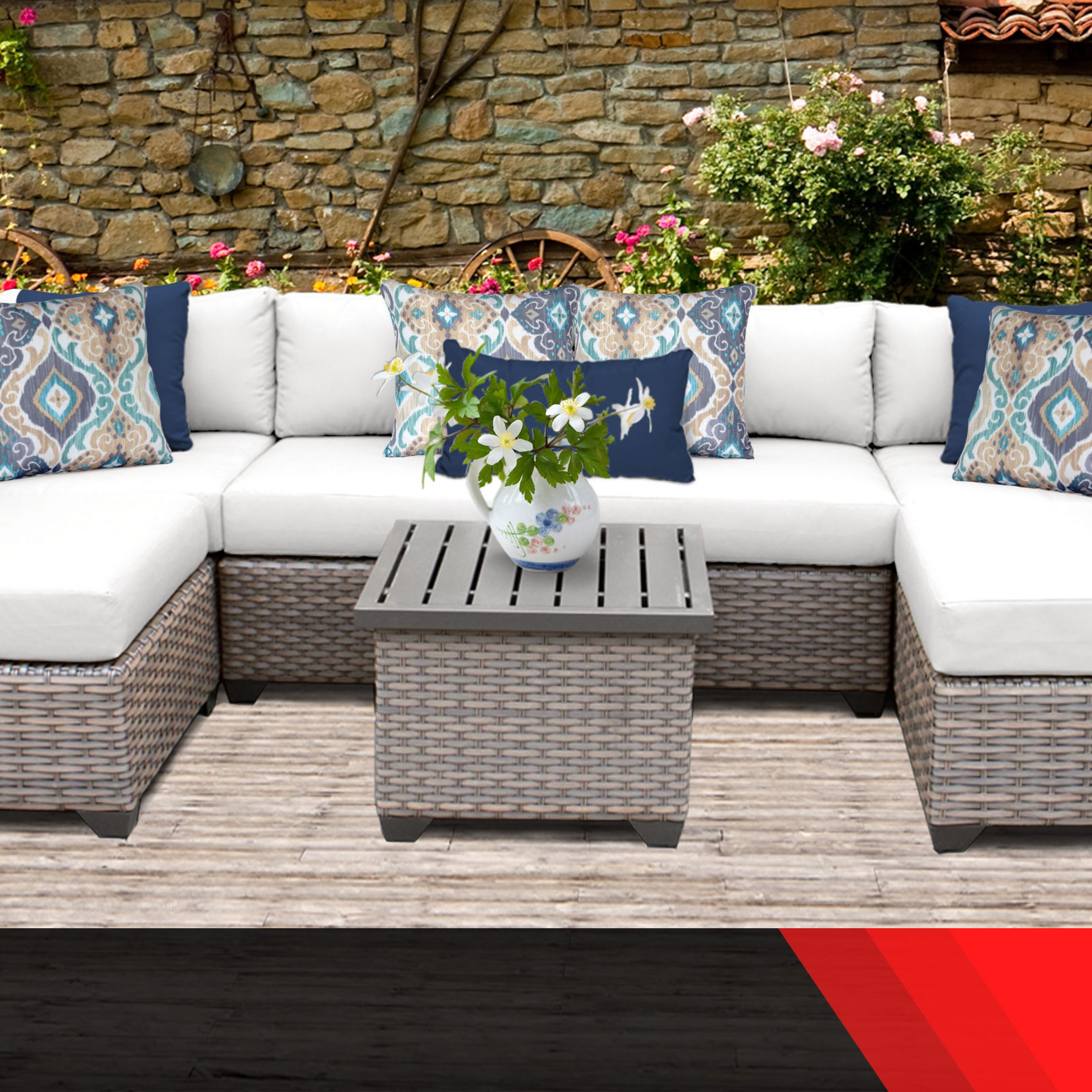 Popular Catalina Outdoor Sofas With Cushions For Details About Catalina 7 Piece Outdoor Wicker Patio Furniture Set 07c 2 For (View 8 of 11)