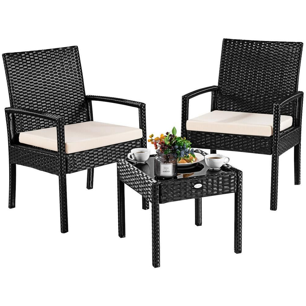 Popular Costway 3 Pieces Outdoor Rattan Furniture Patio Conversation In Letona Patio Sectionals With Cushions (Gallery 12 of 25)
