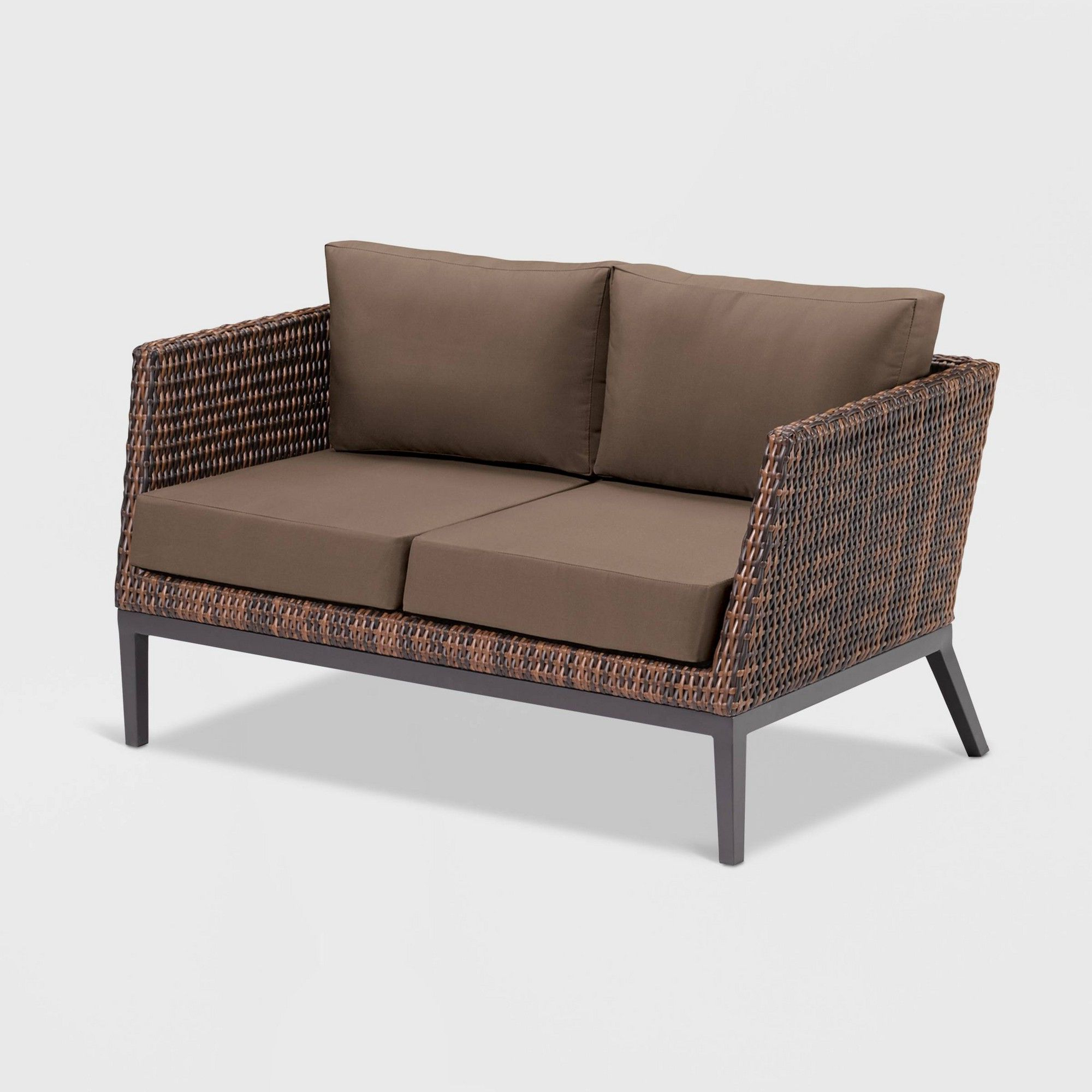 Popular Hagler Outdoor Loveseats With Cushions Pertaining To Salino Woven Resin Wicker Patio Loveseat – Brown – Oxford (Gallery 9 of 25)