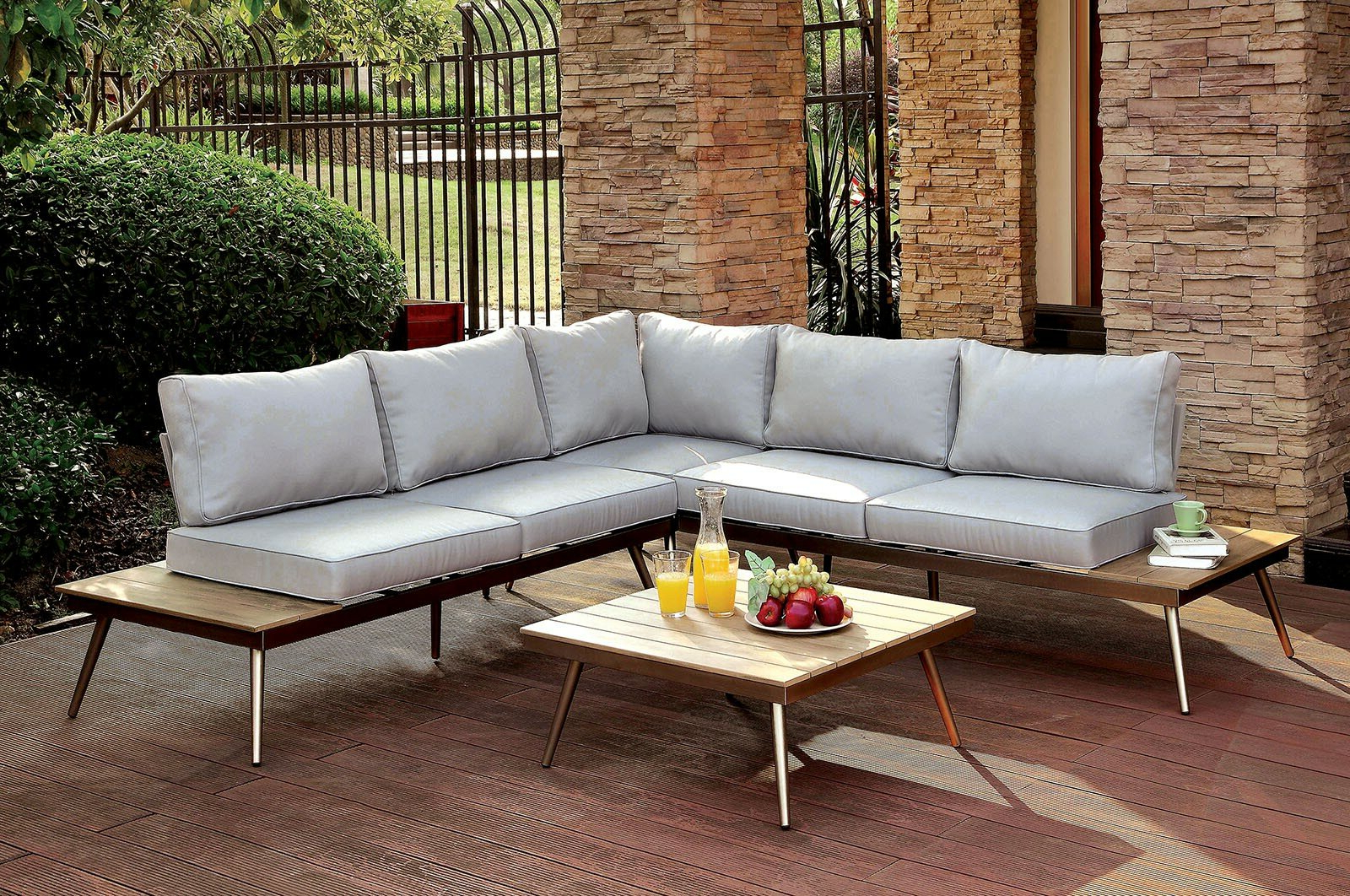 Popular Honeycutt Patio Sofas With Cushions With Regard To Brecht Patio Sectional With Cushions (Gallery 13 of 25)
