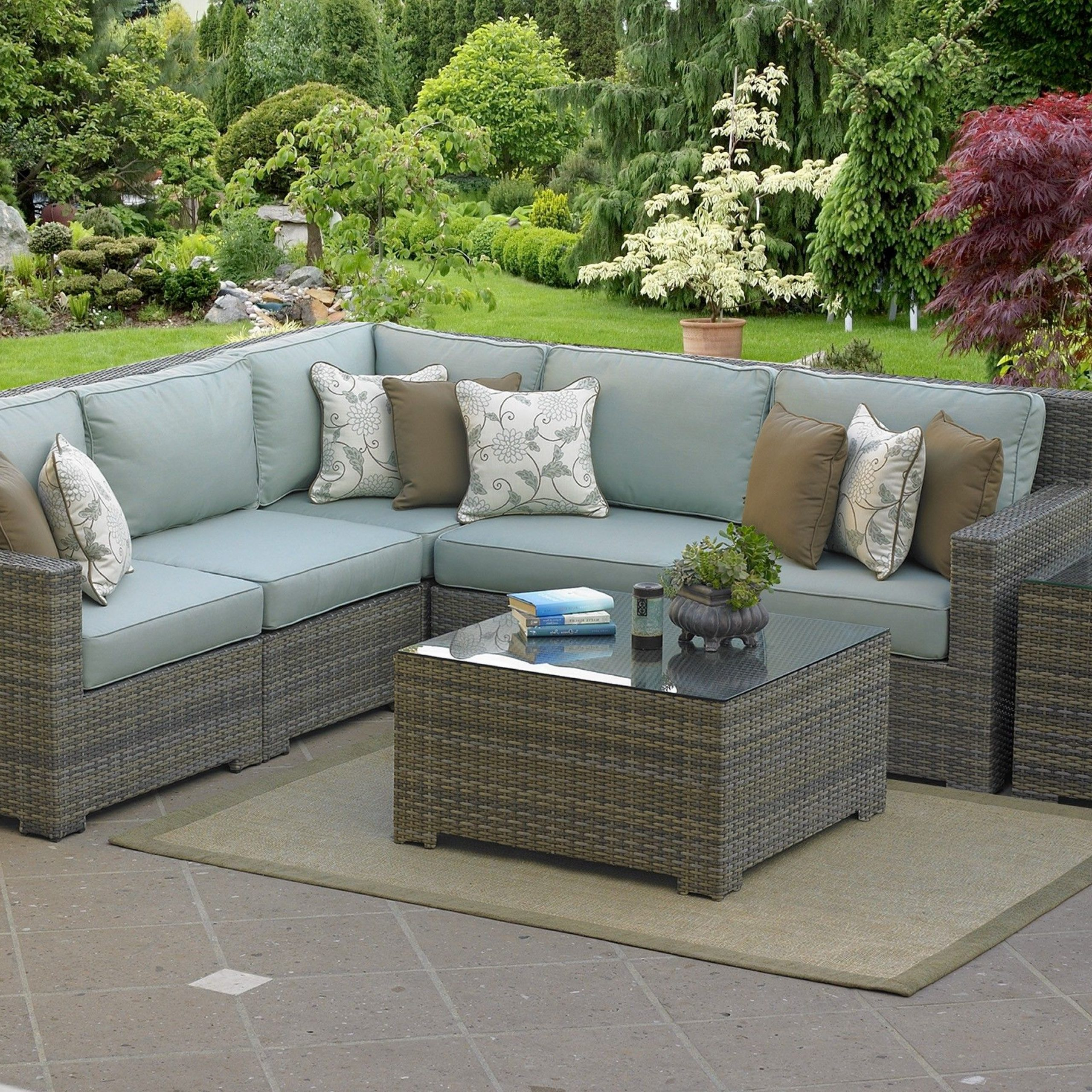 Popular Malibu High Back 5 Pc Outdoor L Sectional 90 Degree In 2019 Throughout Carina 4 Piece Sectionals Seating Group With Cushions (View 19 of 25)