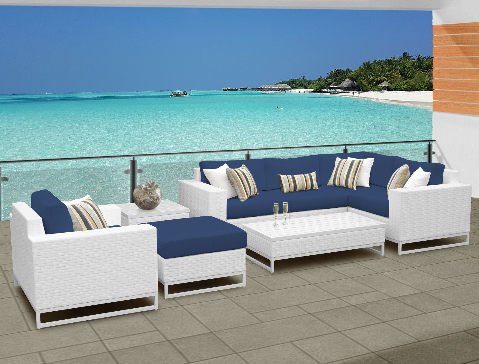 Popular Miami 8 Piece Sectional Seating Group With Cushions Throughout Menifee Patio Sofas With Cushions (Gallery 6 of 25)