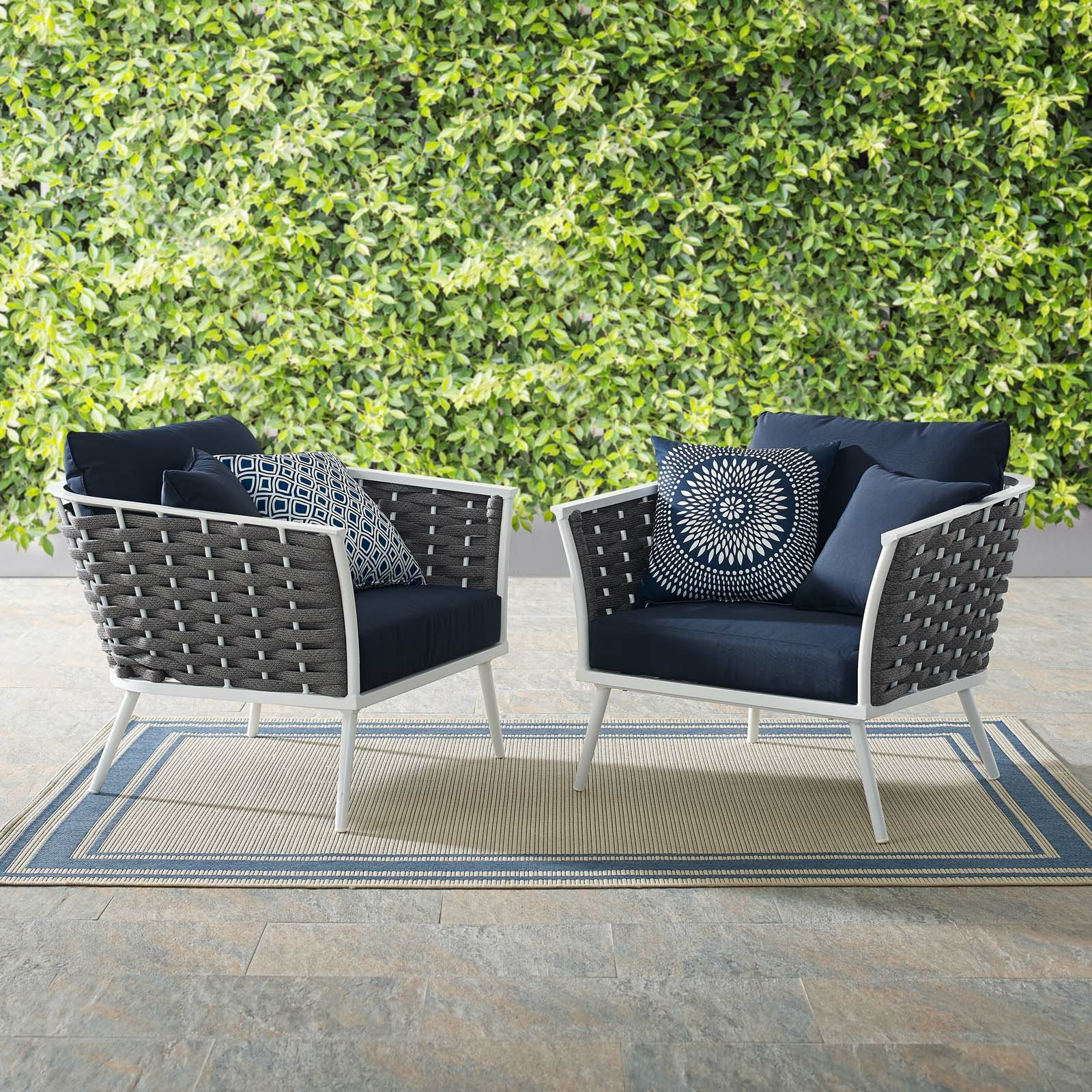 Popular Rossville Patio Chair With Cushions Within Rossville Outdoor Patio Sofas With Cushions (View 4 of 25)