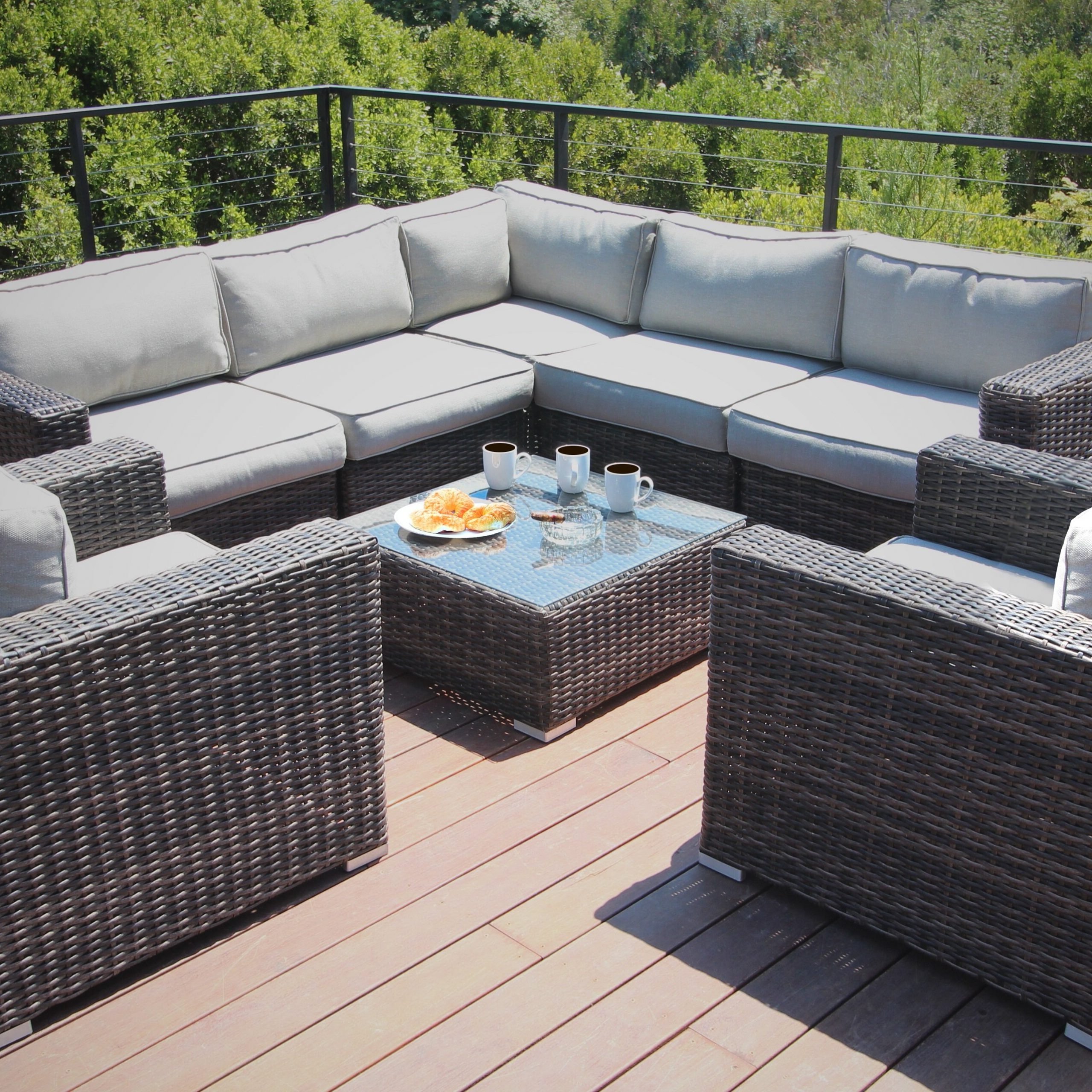 Preferred Eldora Patio Sectionals With Cushions For Eldora 8 Piece Rattan Sectional Seating Group (View 12 of 25)
