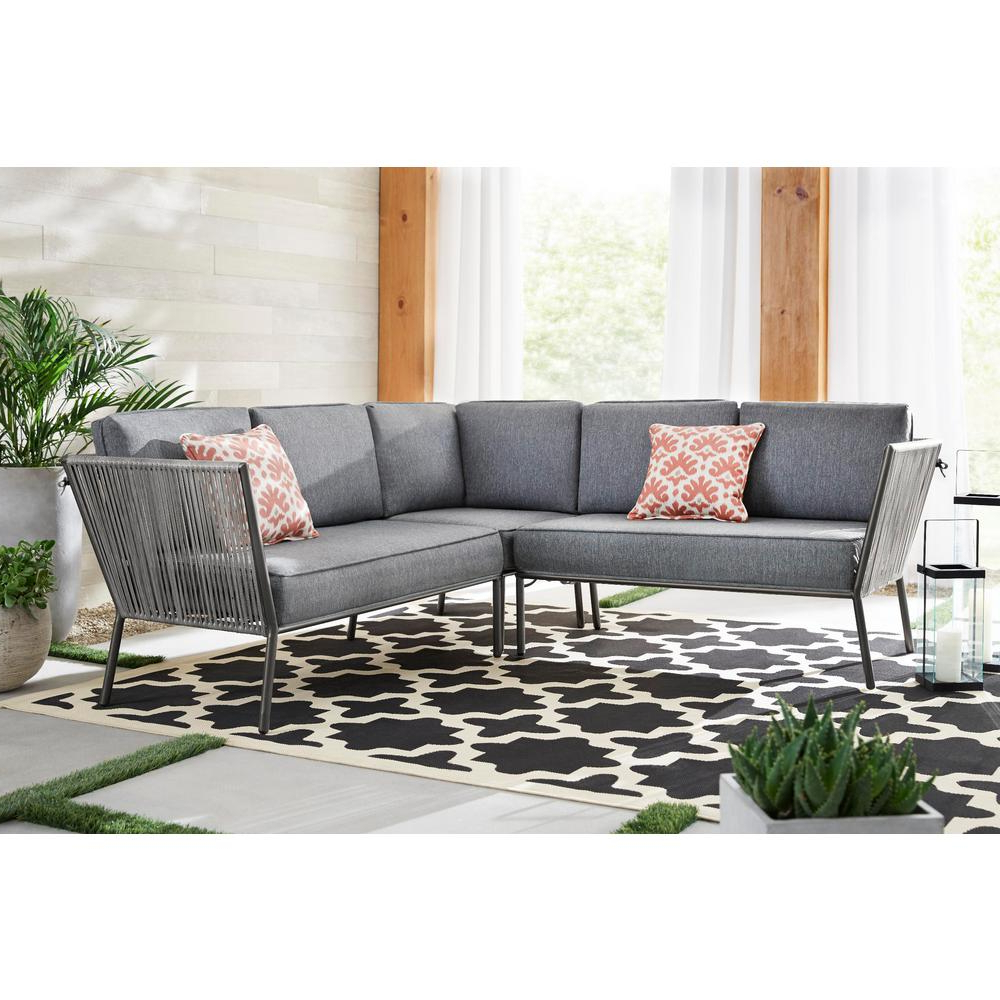 Preferred Hampton Bay Tolston 3 Piece Woven Outdoor Sectional Set With In O'kean Teak Patio Sofas With Cushions (View 21 of 25)