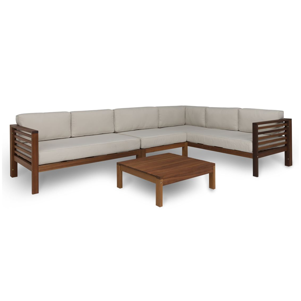 Preferred Jamilla Teak Patio Sofas With Cushion With Regard To Milford 4 Piece Outdoor Lounge Set, Eucalyptus (View 20 of 25)