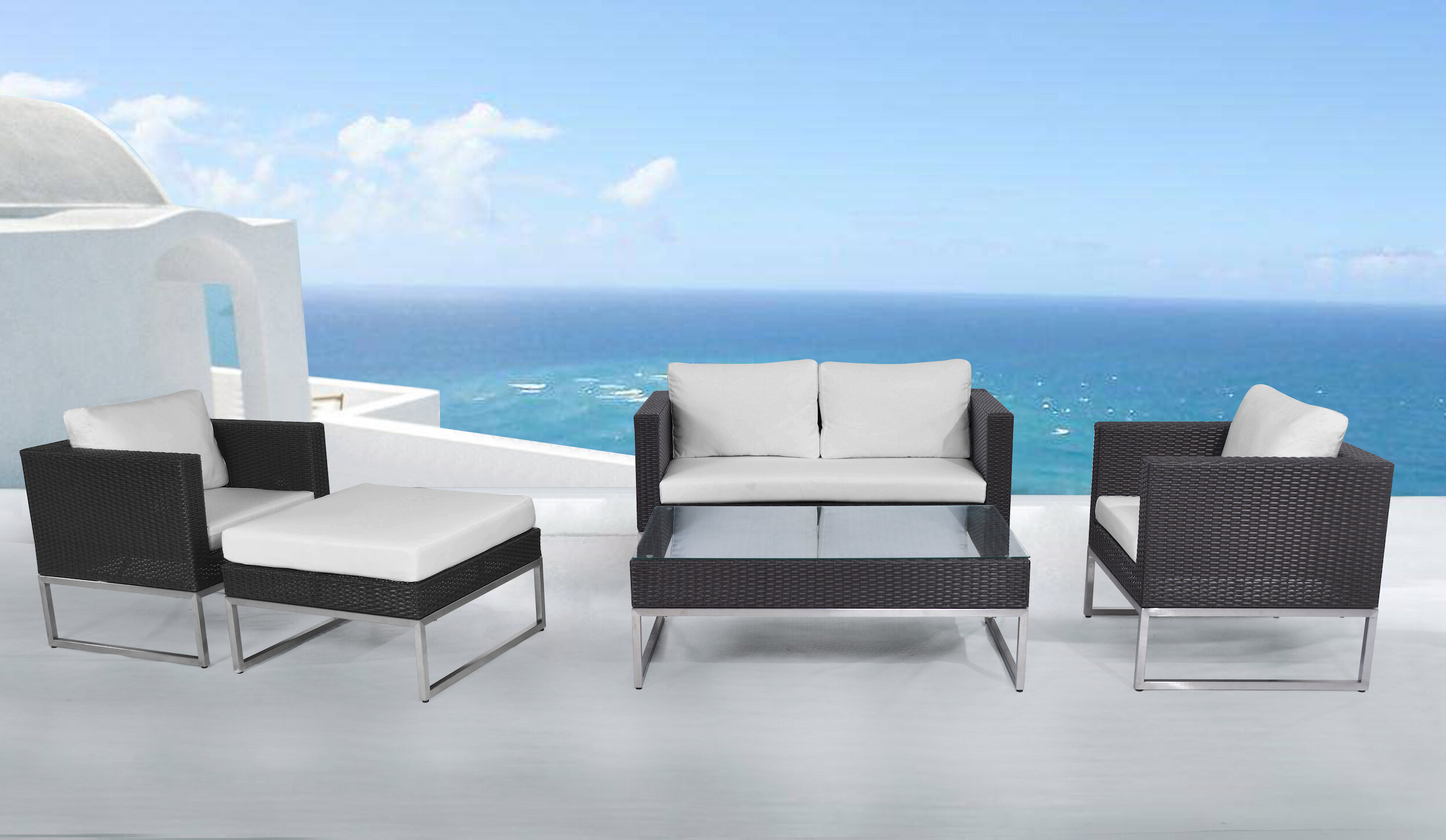 Preferred Jimmie 3 Piece Sectionals Seating Group With Cushions Intended For Kabir Garden 5 Piece Rattan Sofa Seating Group With Cushions (View 19 of 25)
